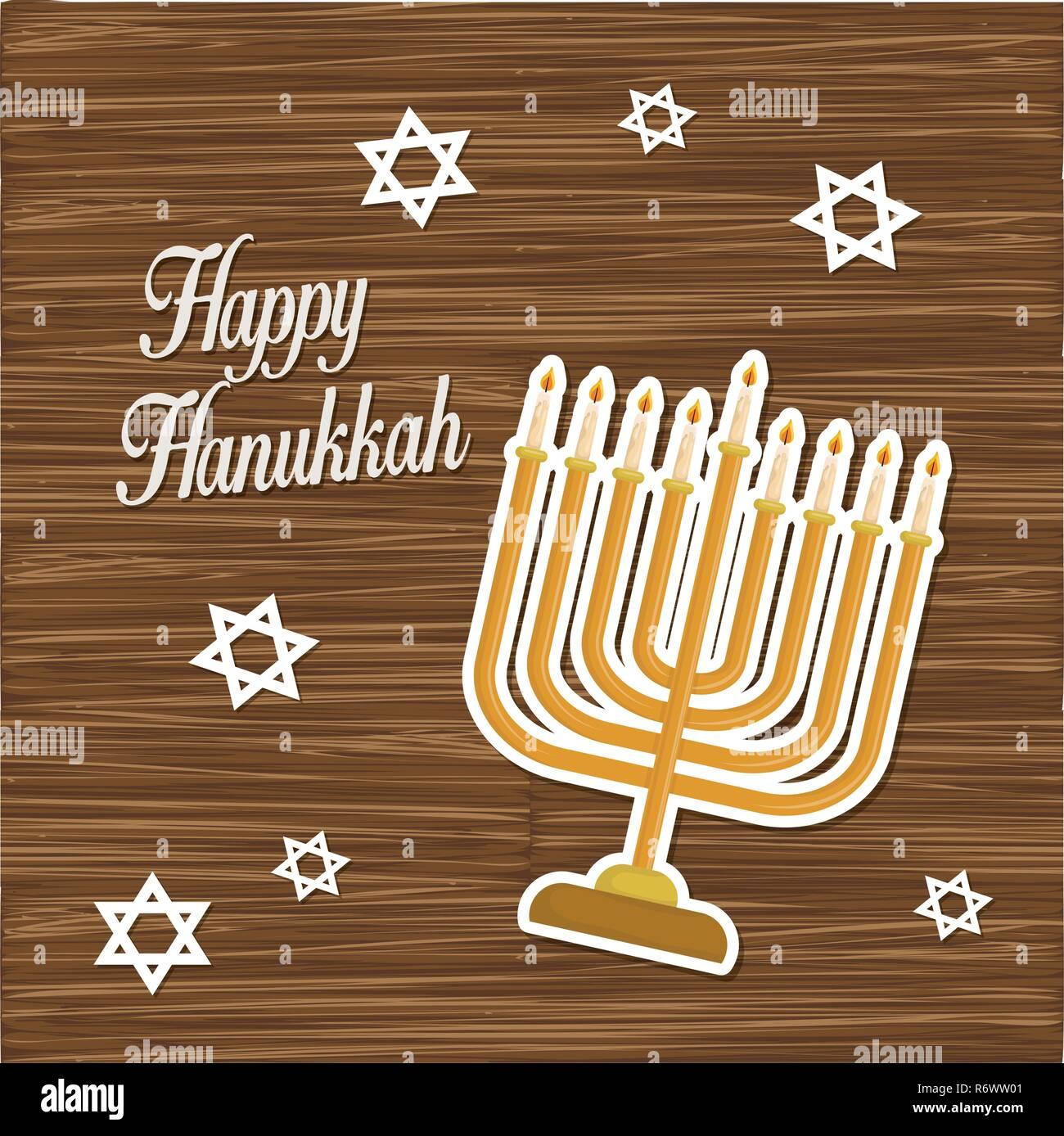 happy hanukkah card with chandelier vector illustration design - Stock Image