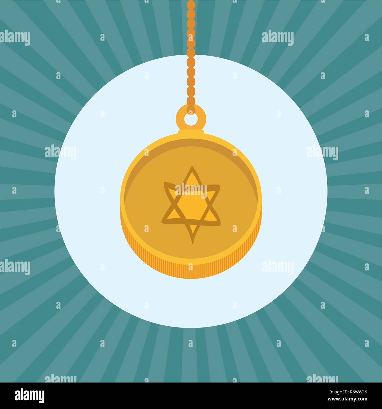 happy hanukkah card with medal vector illustration design - Stock Image