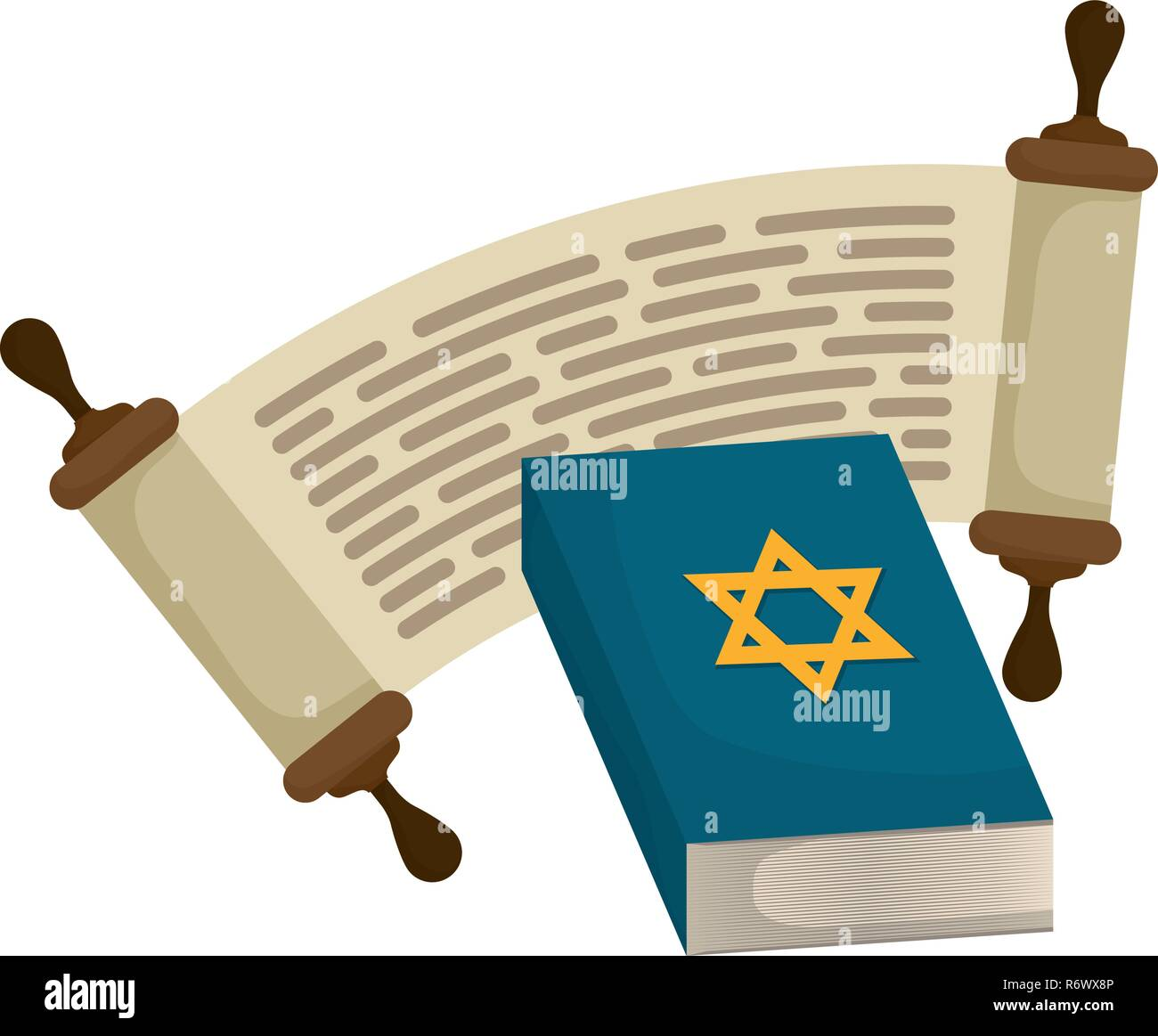 jewish holy book with star vector illustration design - Stock Image