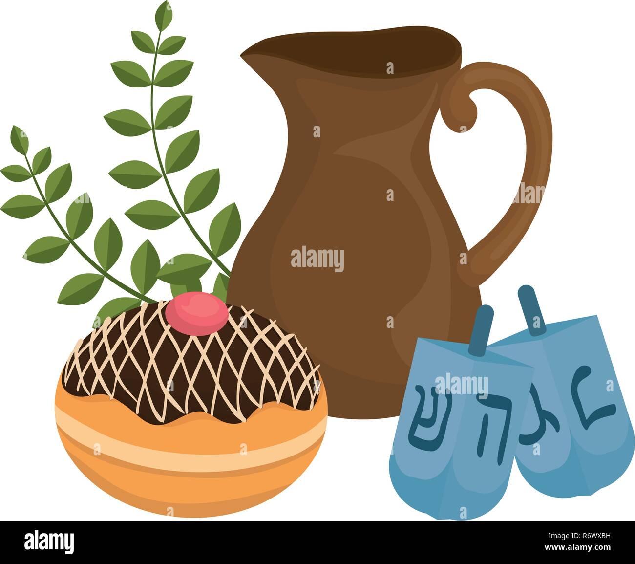 dreidel hanukkah with teapot and donut vector illustration design - Stock Vector