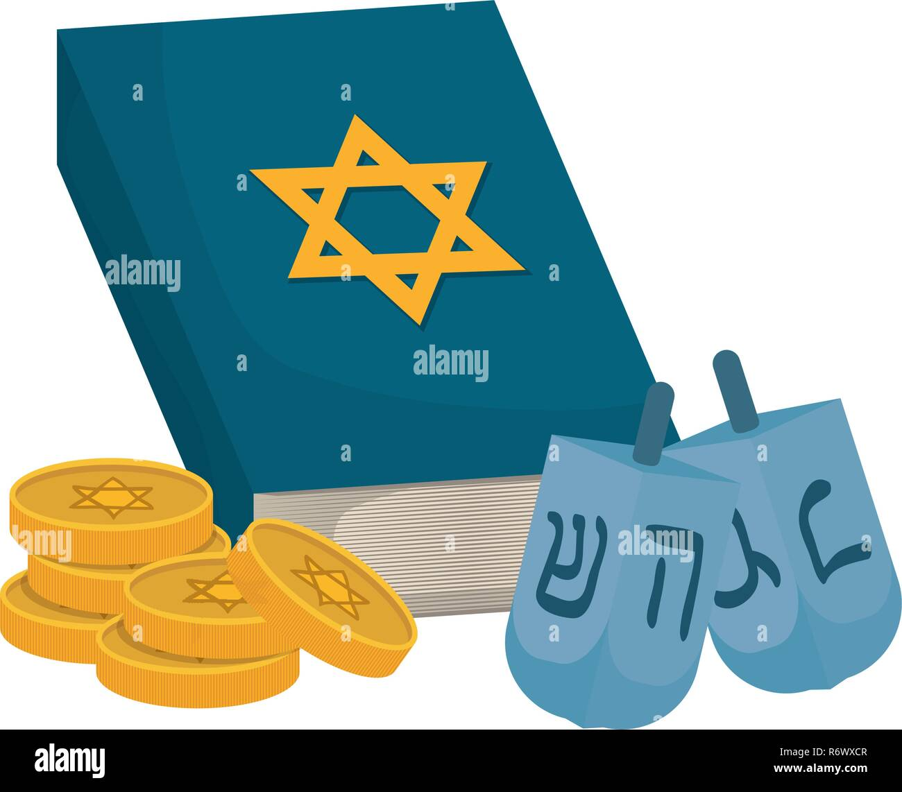 Jewish dreidel hanukkah with holy book vector illustration design Stock Vector