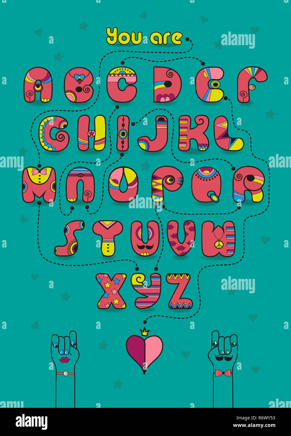 Romantic cipher text. You are my prince Stock Photo