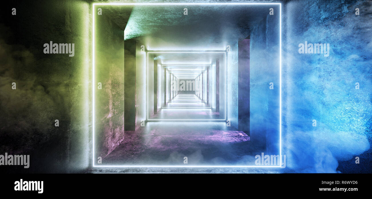 Abstract Long Grunge Concrete Sci Fi Modern Dark Empty Tunnel With Smoke Fog And Purple Blue Orange Green Led Neon Glowing Lights Reflections Backgrou - Stock Image