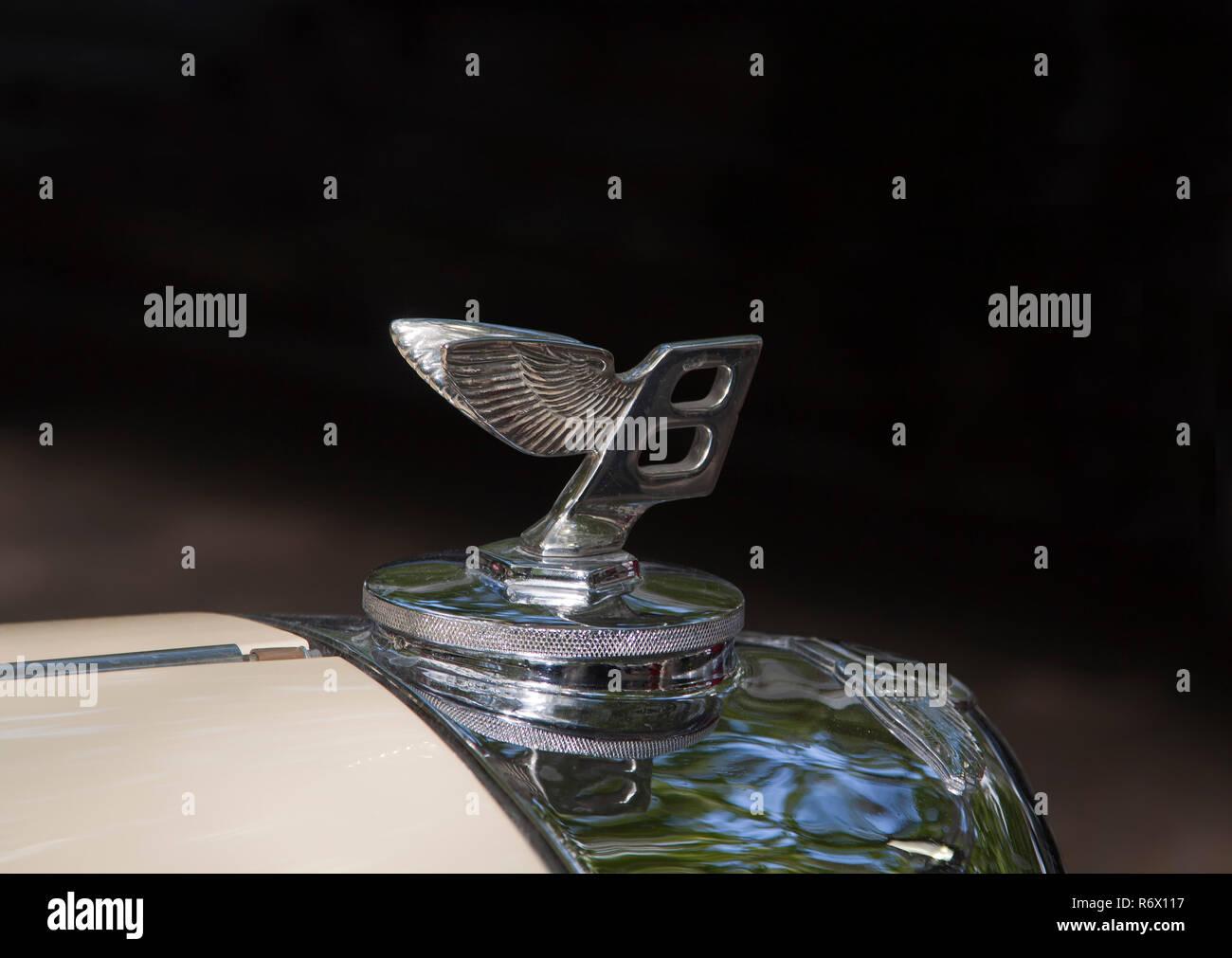 "Bentley winged ""B"" badge bonnet (hood) ornament Stock Photo"