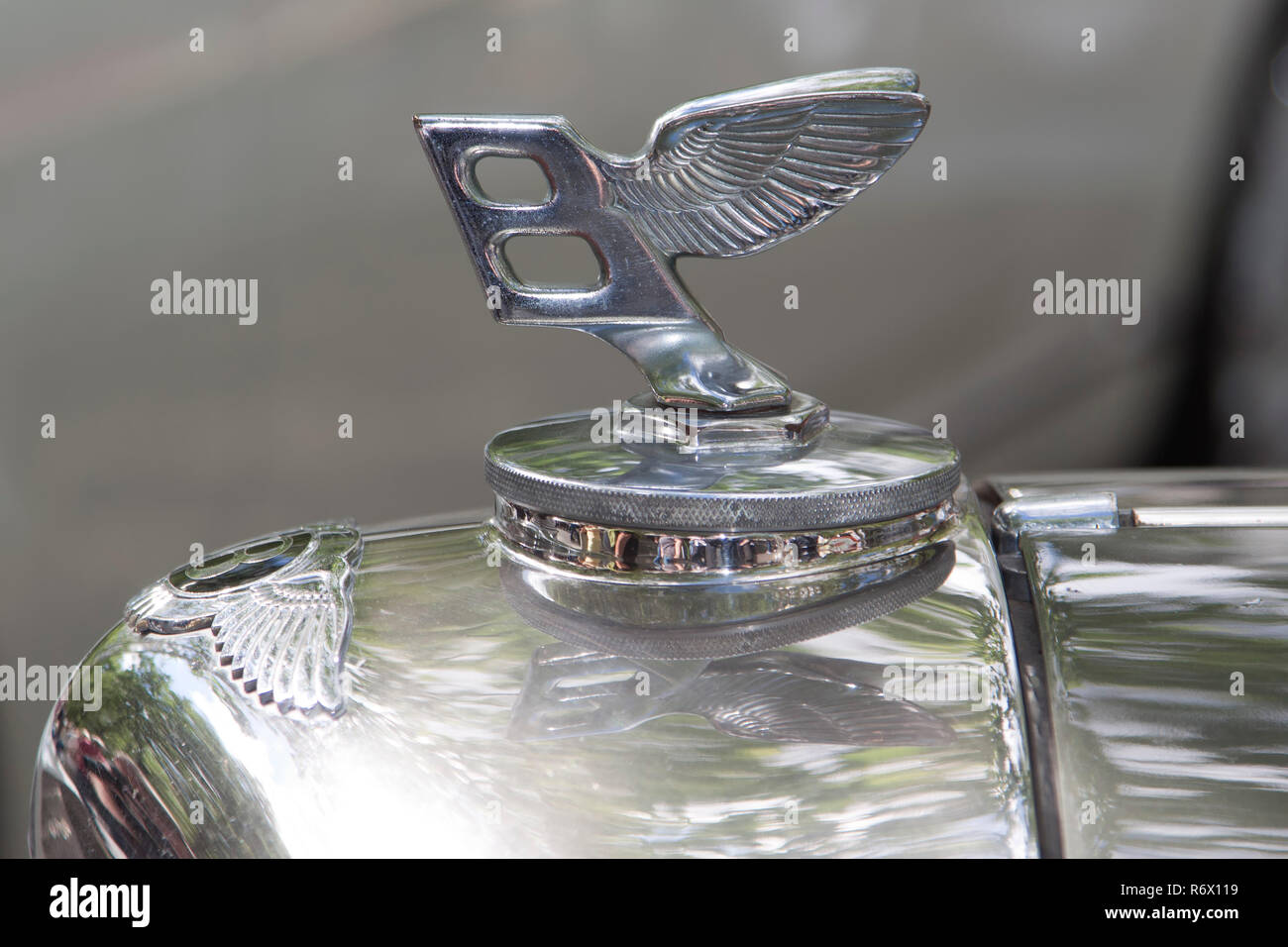 Bentley winged 'B' badge bonnet (hood) ornament - Stock Image