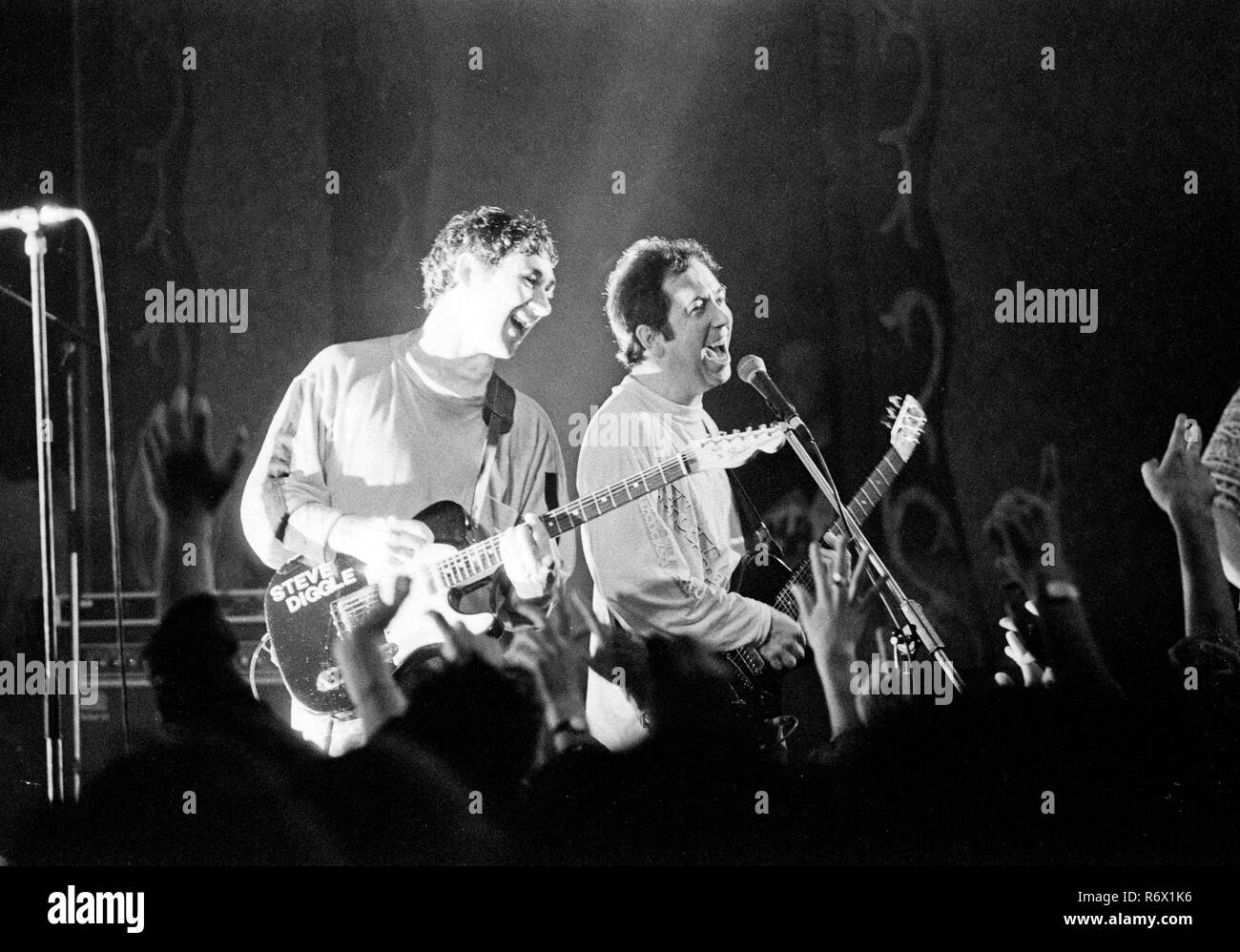 File picture : Pete Shelley (right) and Steve Diggle (left) performing with The Buzzcocks  at the Patti Pavillion in Swansea on 11th October 1990. He has passed away today (6th December 2018) age 63. - Stock Image
