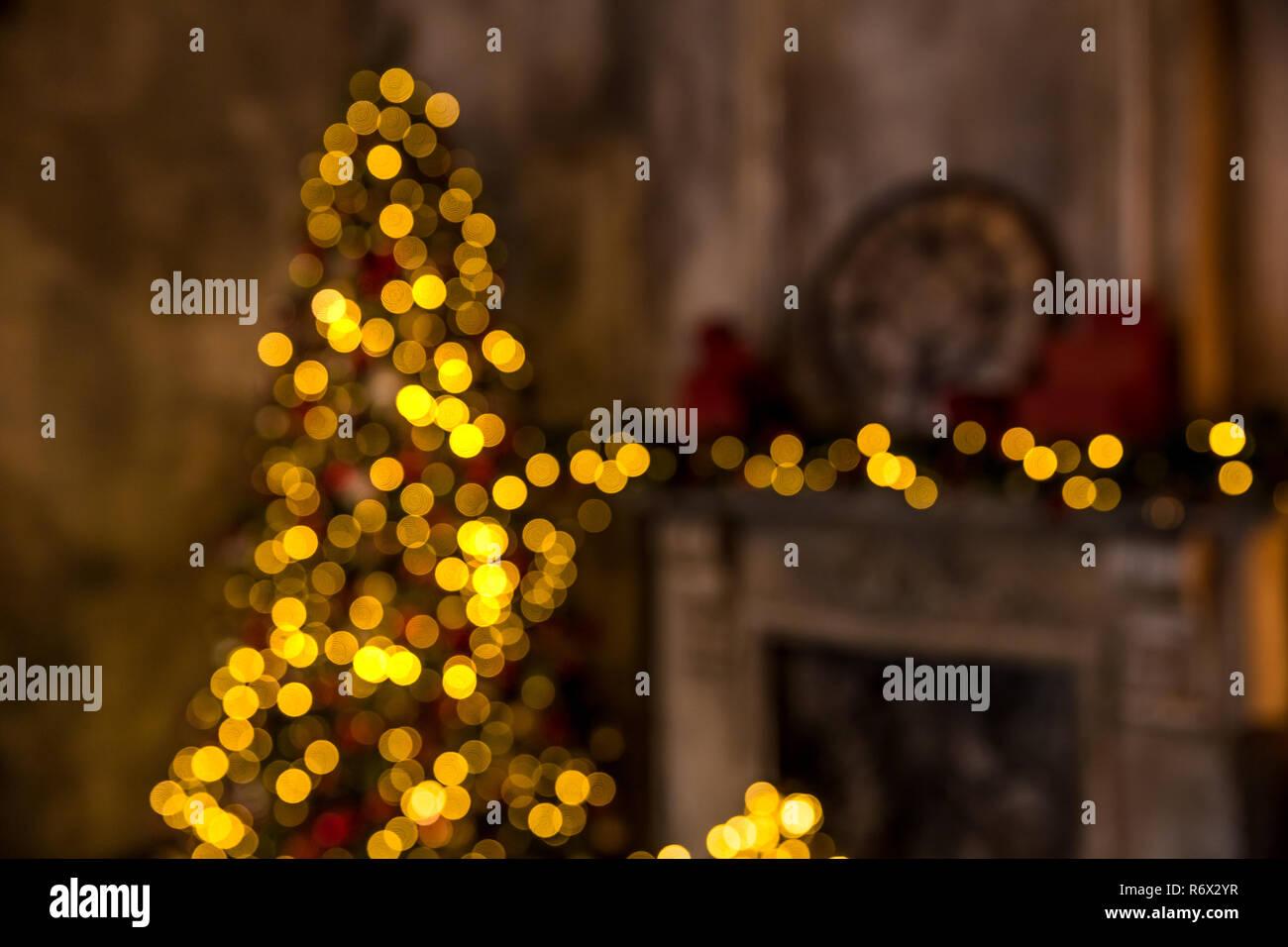 Dark room with christmas interior - Stock Image