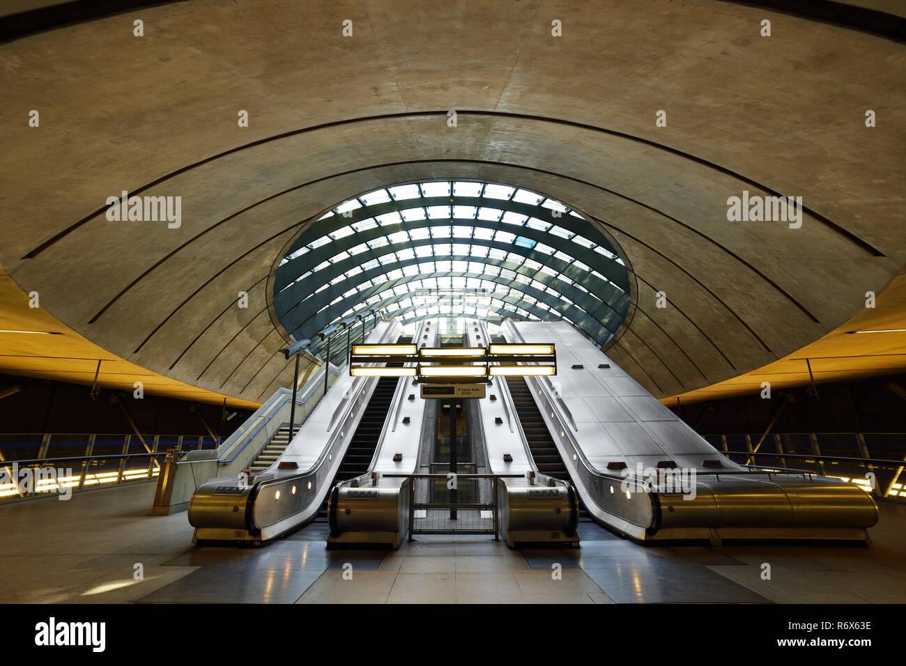 Canary Wharf Underground Station, East Entrance. London, United Kingdom - Stock Image