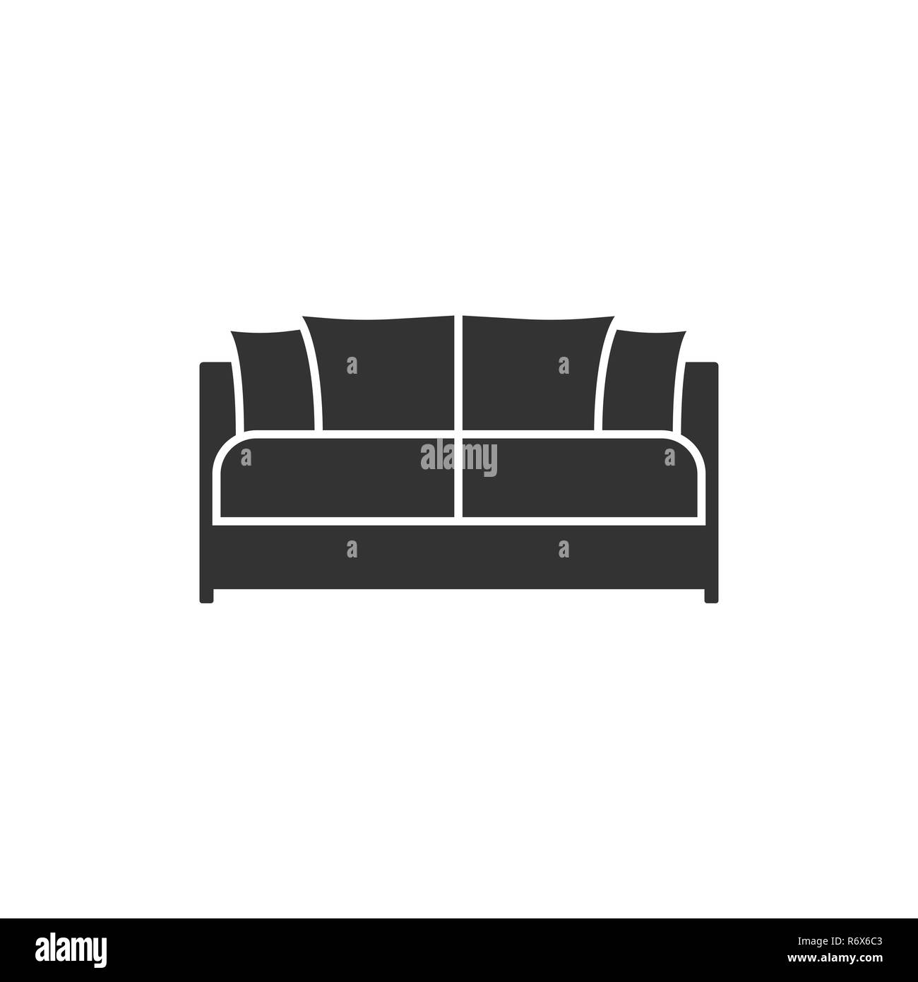 Black Sofa Icon Vector Illustration Flat Design Stock Vector Art