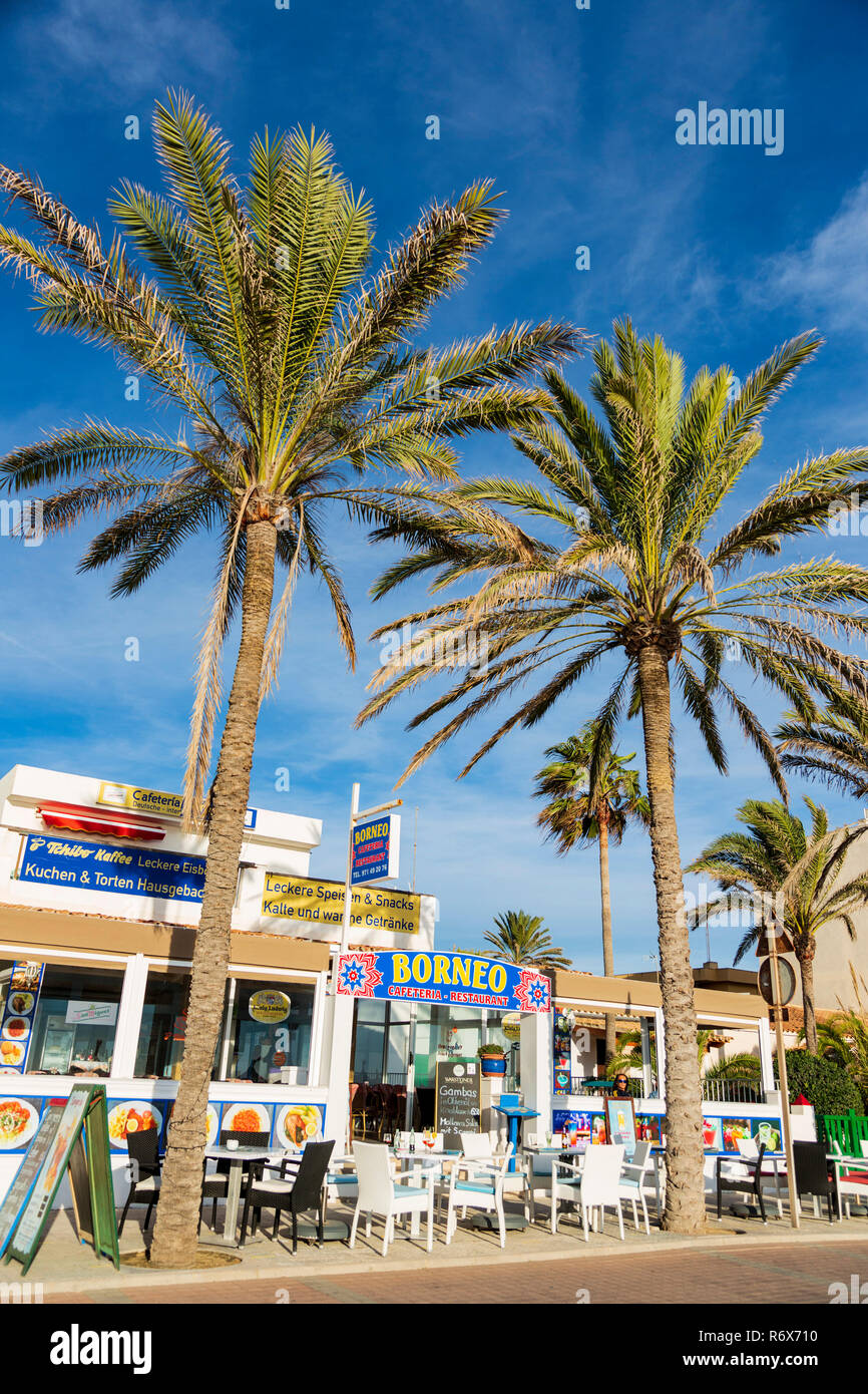 Area with hotels, bars and restaurants, the so-called Ballermann, Playa de Palma, Platja de Palma, Mallorca, Majorca, Balearic Islands, Spain, Europe - Stock Image