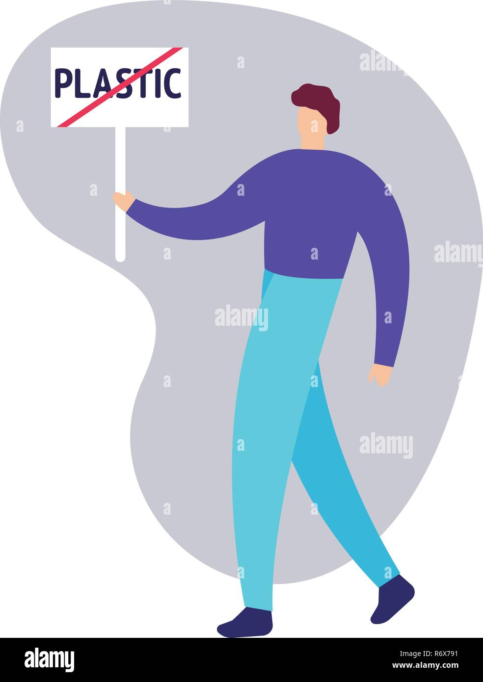Man protest hand banner icon. Simple illustration of man protest hand banner vector Stock Vector