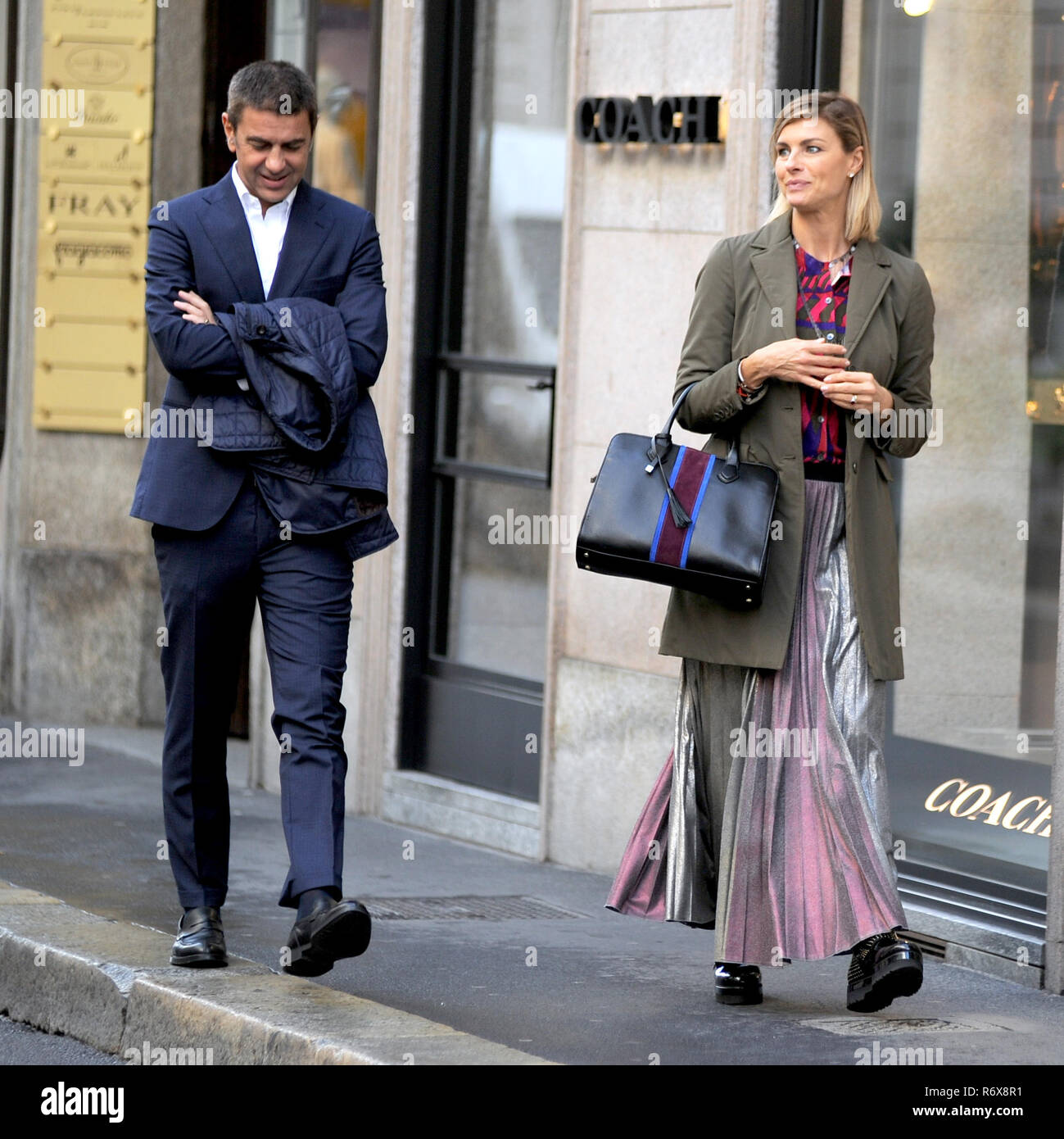 e574e7ad Martina Colombari and her husband Alessandro Costacurta walking through the  streets of Milan, Italy. Featuring: Martina Colombari, Alessandro  Costacurta ...