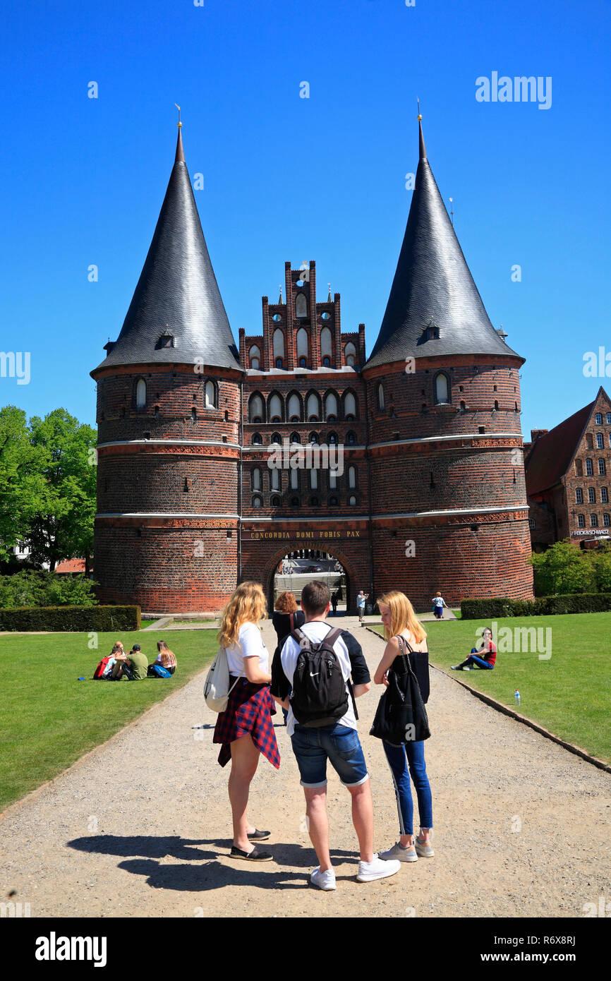 Holstentor, Holsten Gate, Lübeck, Luebeck, Schleswig-Holstein, Germany, Europe - Stock Image