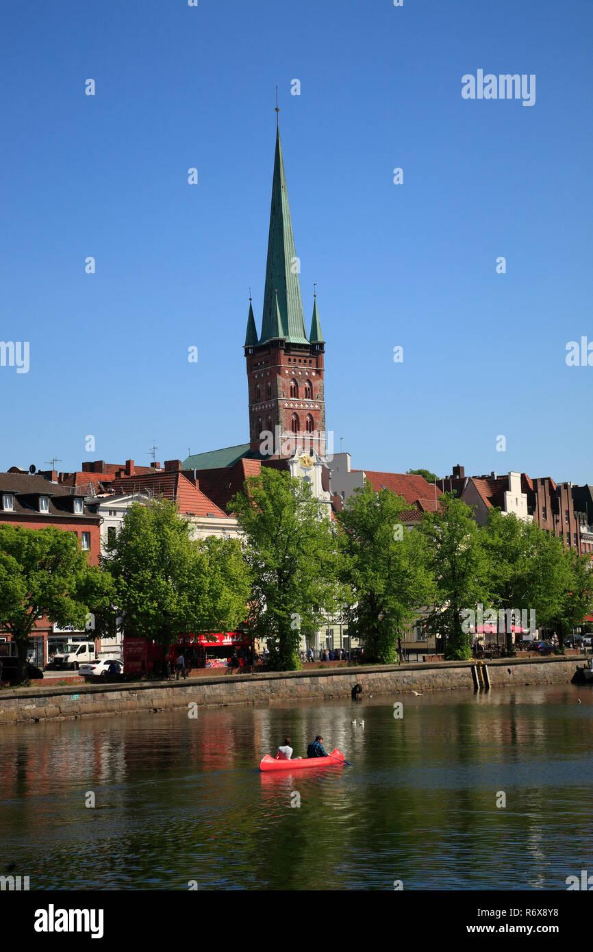 Canoe-Tour on the Untertrave, Lübeck, Luebeck, Schleswig-Holstein, Germany, Europe - Stock Image