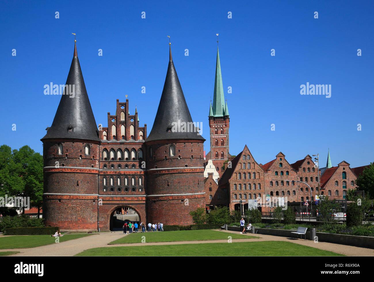 Holstentor, Holsten gate, city gate, Lübeck, Luebeck, Schleswig-Holstein, Germany, Europe - Stock Image