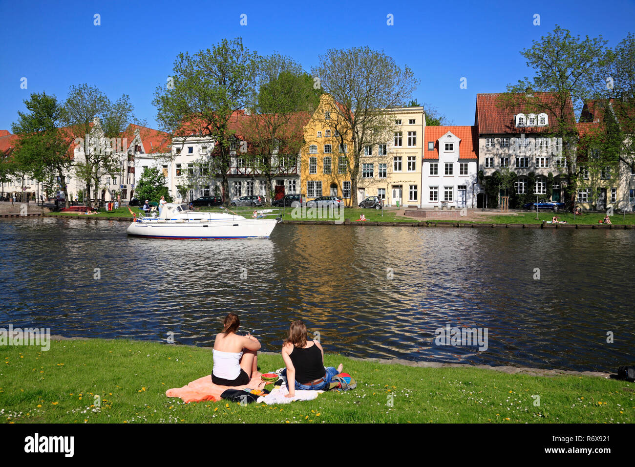 View across Obertrave river, Lübeck, Luebeck, Schleswig-Holstein, Germany, Europe - Stock Image