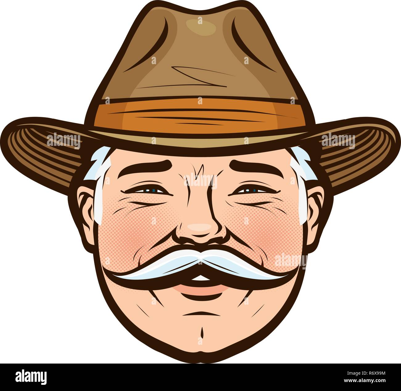Portrait of a smiling farmer in a hat. Vector illustration - Stock Image