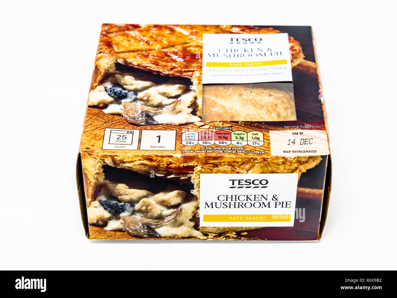 Tesco Chicken And Mushroom Pie In Its Cardboard Box Stock