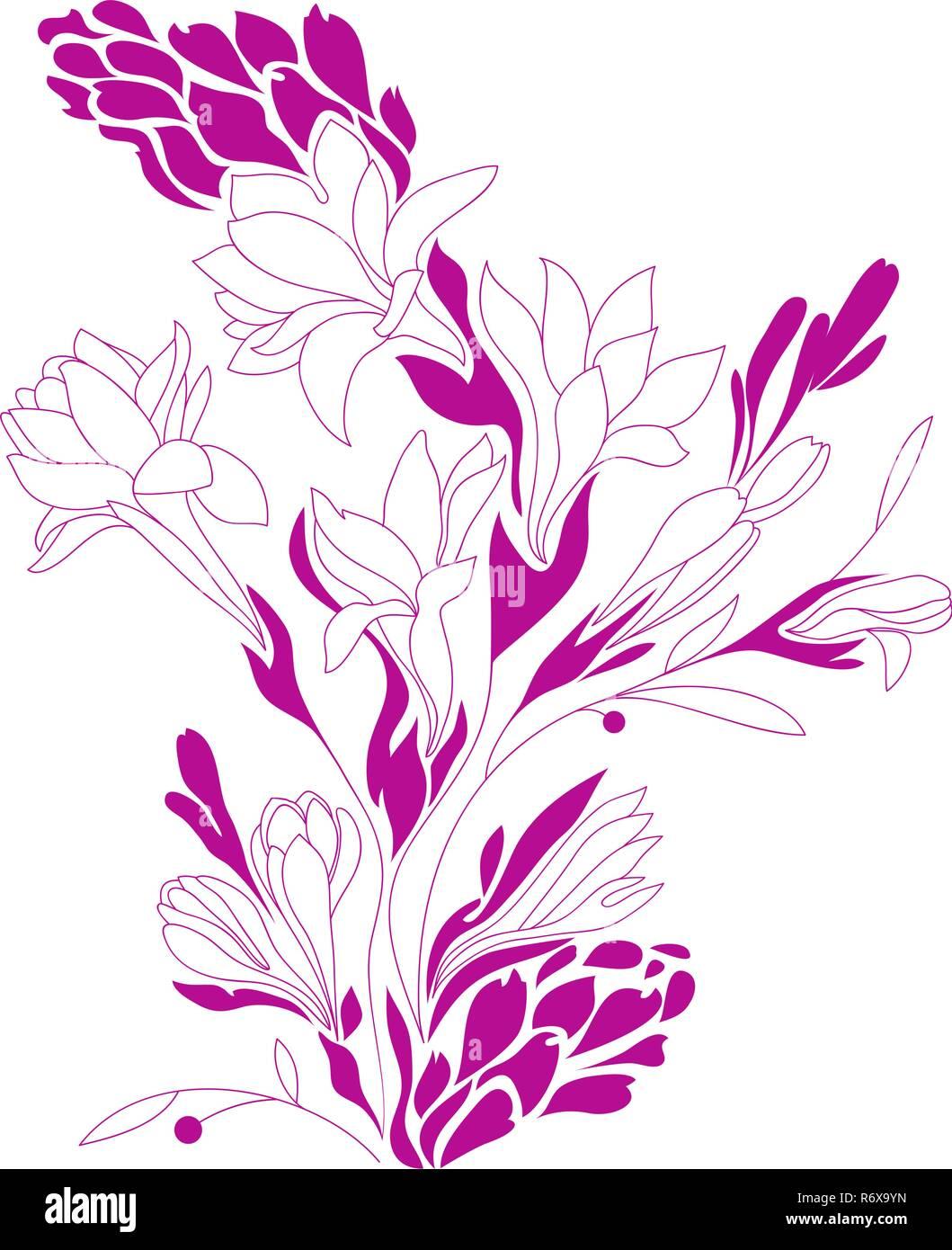 Flowers contour drawing, silhouette floral, Tuberose design, vector illustration - Stock Vector