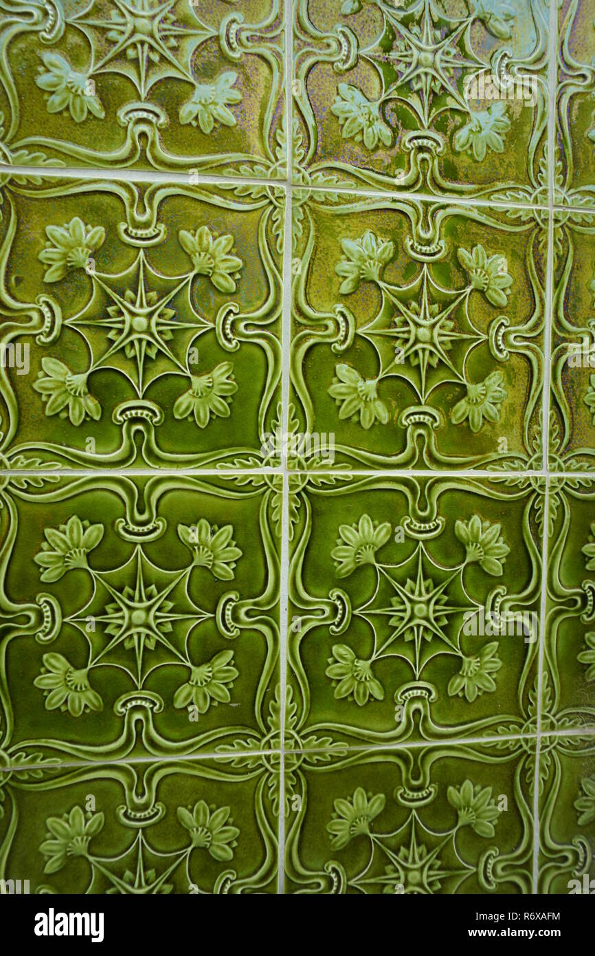 Lisbon / Portugal - May 2017: Green Azulejos tiles with convex volume ornament - Stock Image