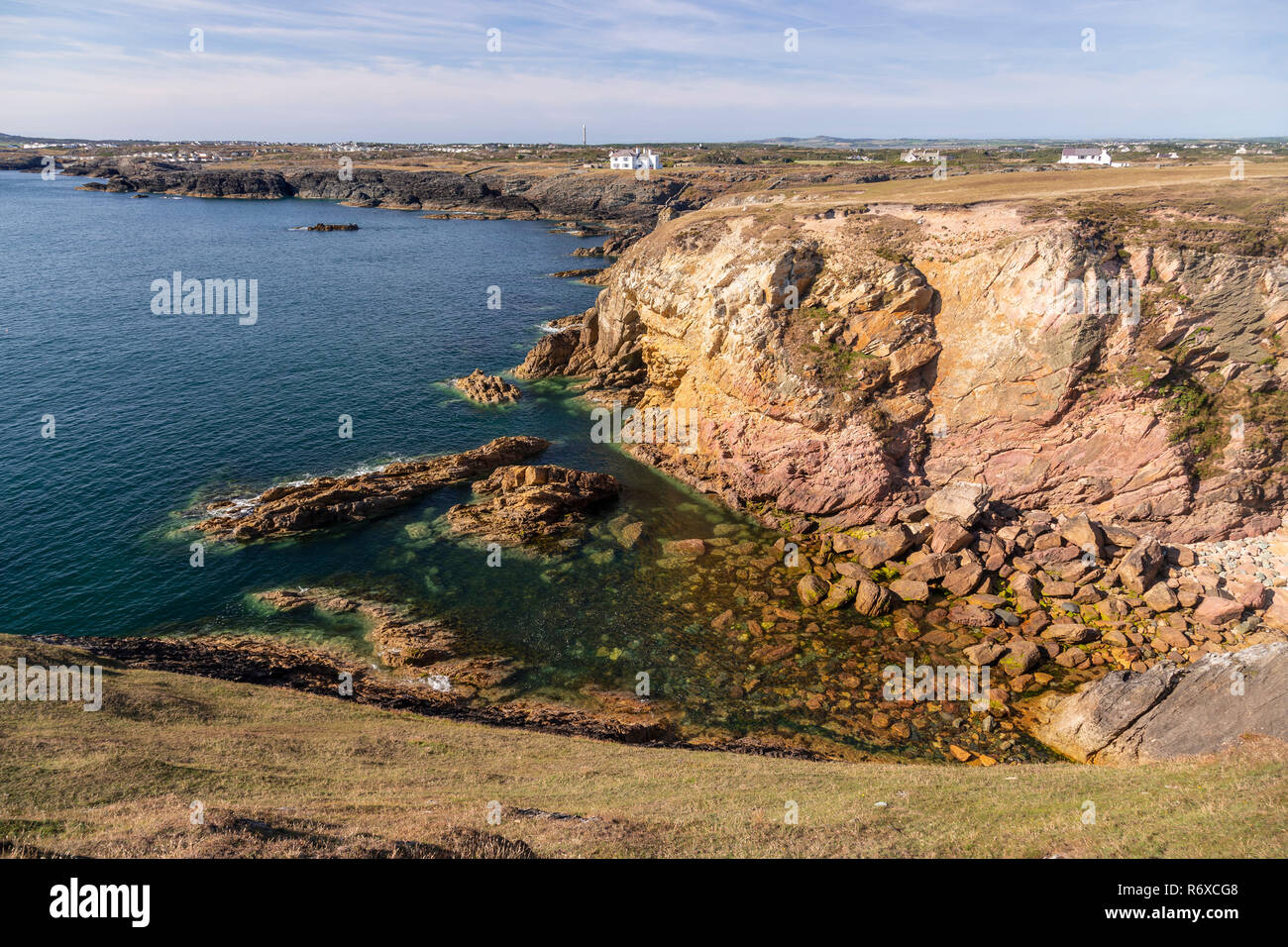 Rugged coastline at Rhoscolyn on Anglesey, North Wales Stock Photo