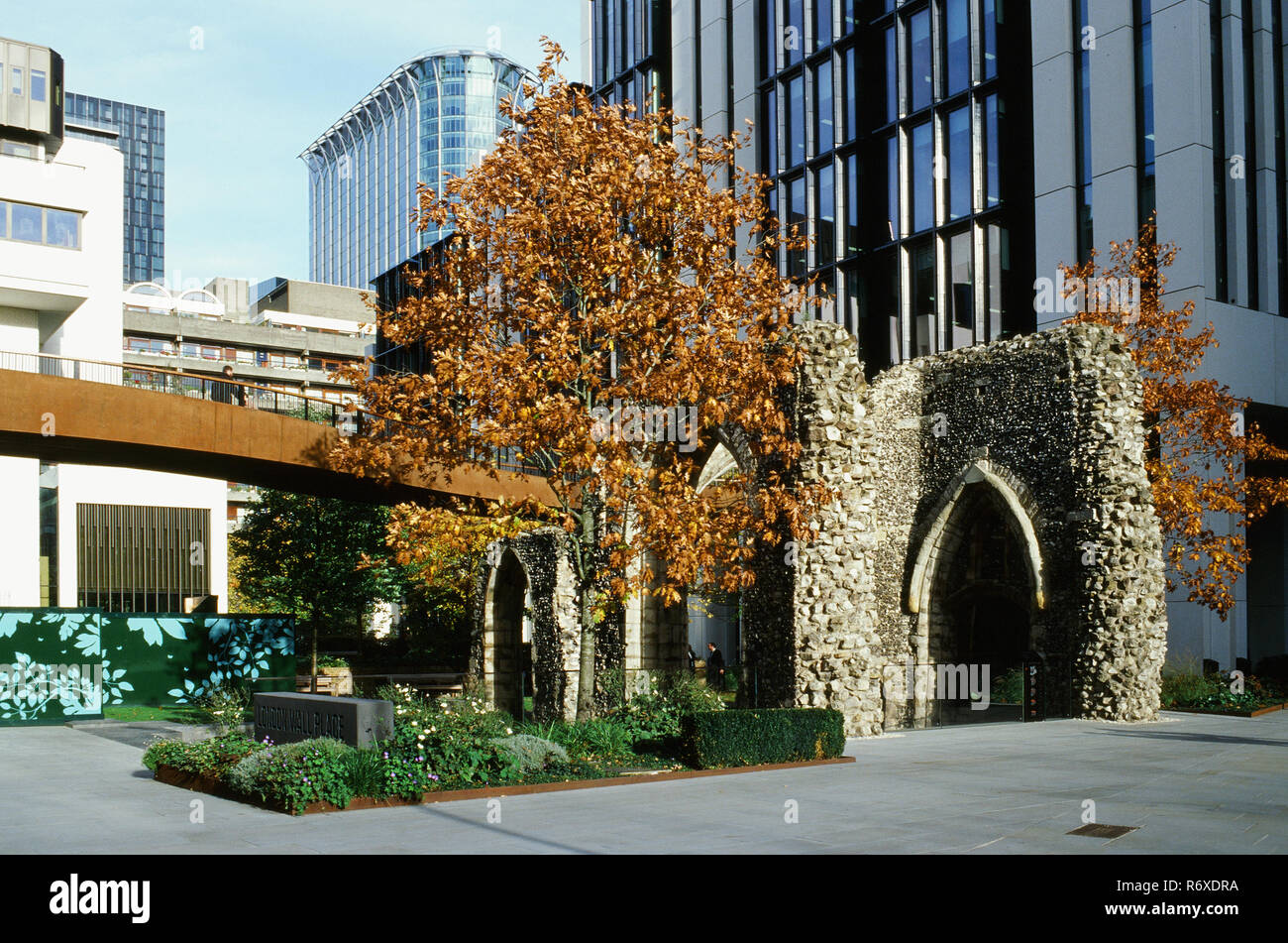 The ruins of St Alphege church near the Barbican, on London Wall, in the City of London, UK - Stock Image