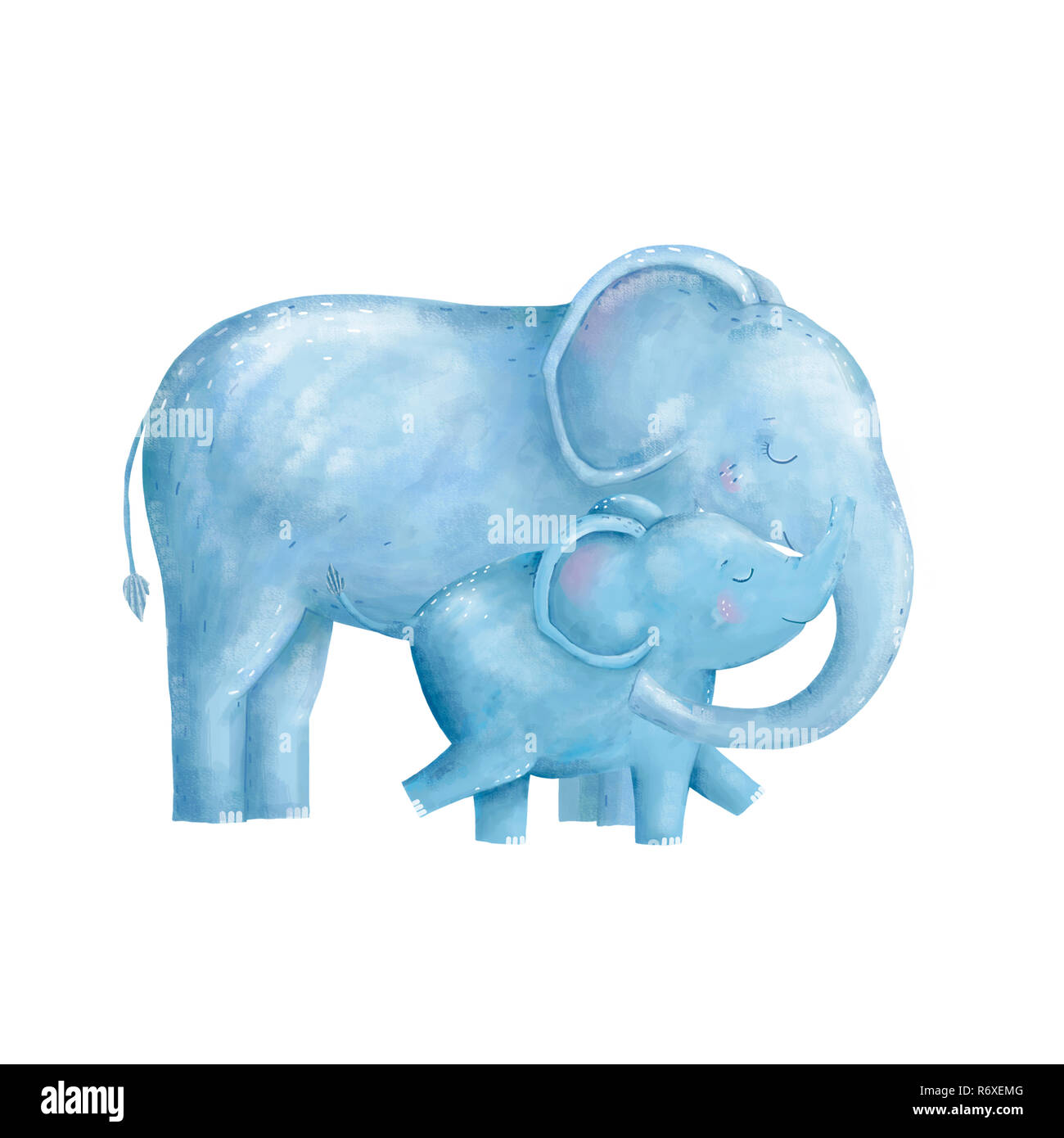 Elephant clip art digital animal of africa character illustration on white background drawing watercolor - Stock Image