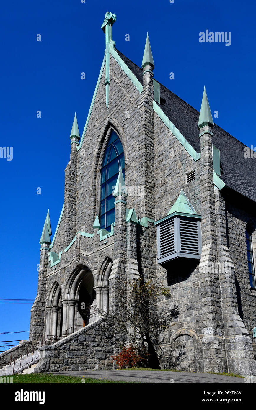 A stone church built in 1924 in the city of Saint John New Brunswick Canada - Stock Image