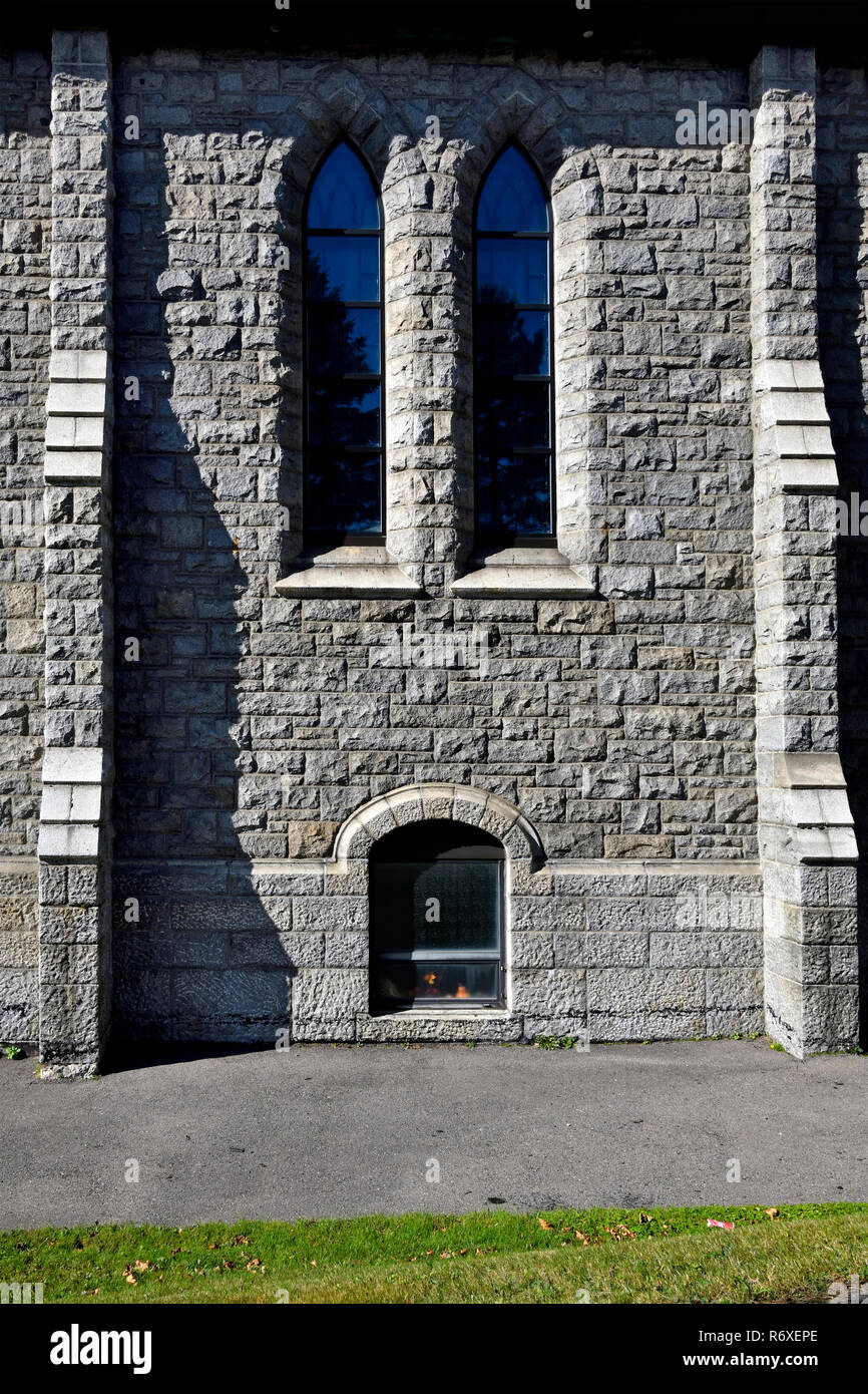A side view of the Stella Maris stone church built in 1924 on Bayside Drive  in the city of Saint John New Brunswick Canada - Stock Image