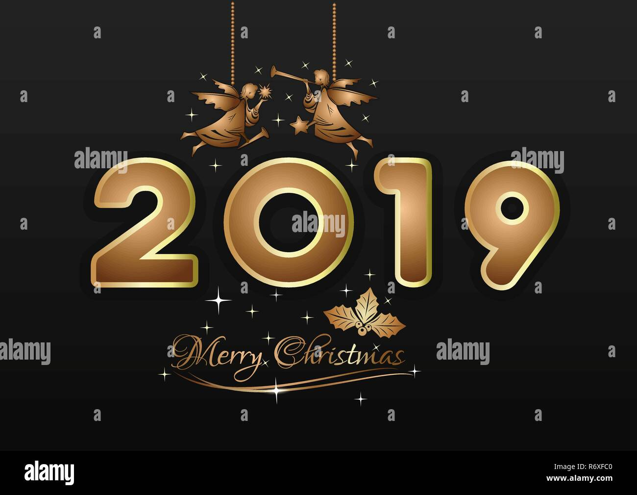 Angels Christmas Background.Merry Christmas 2019 New Years Design Gold Christmas