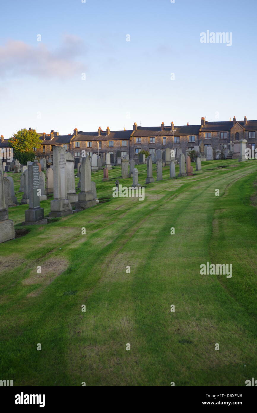 Trinity Cemetery, Aberdeen. Headstones by Mowed Grass on a Tranquil Evening. Scotland, UK. - Stock Image