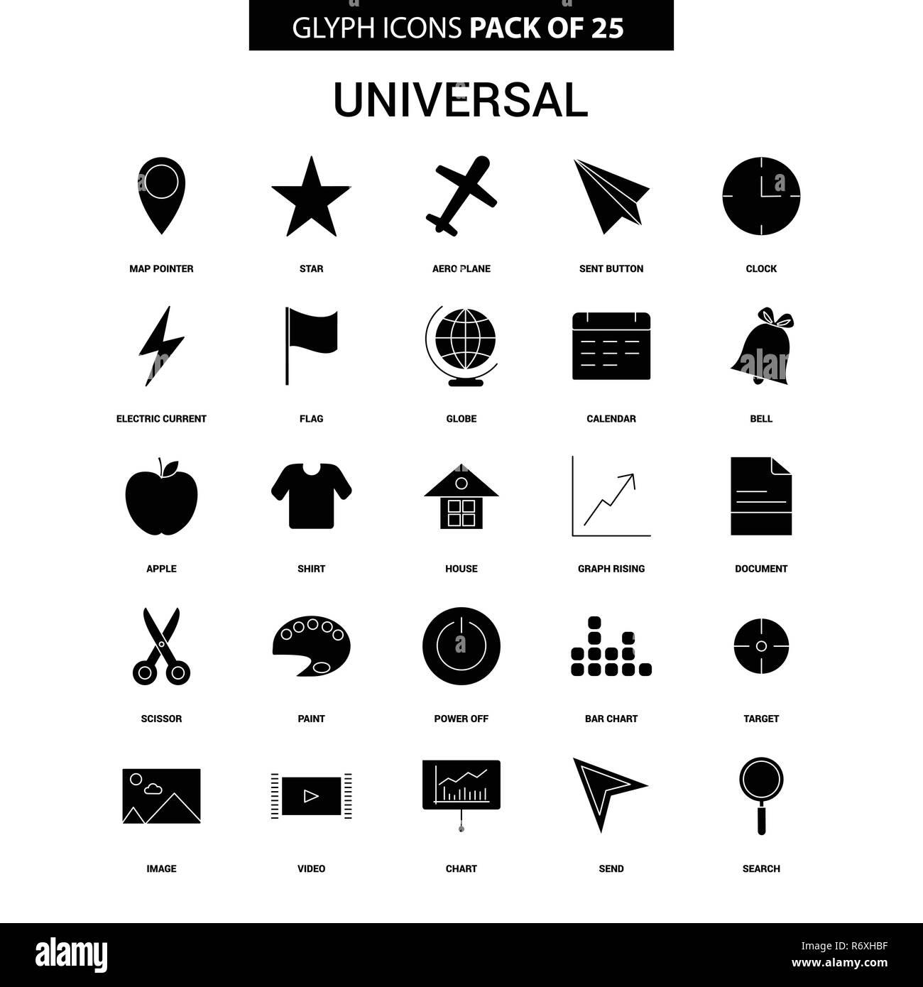 Universal Glyph Vector Icon set - Stock Image