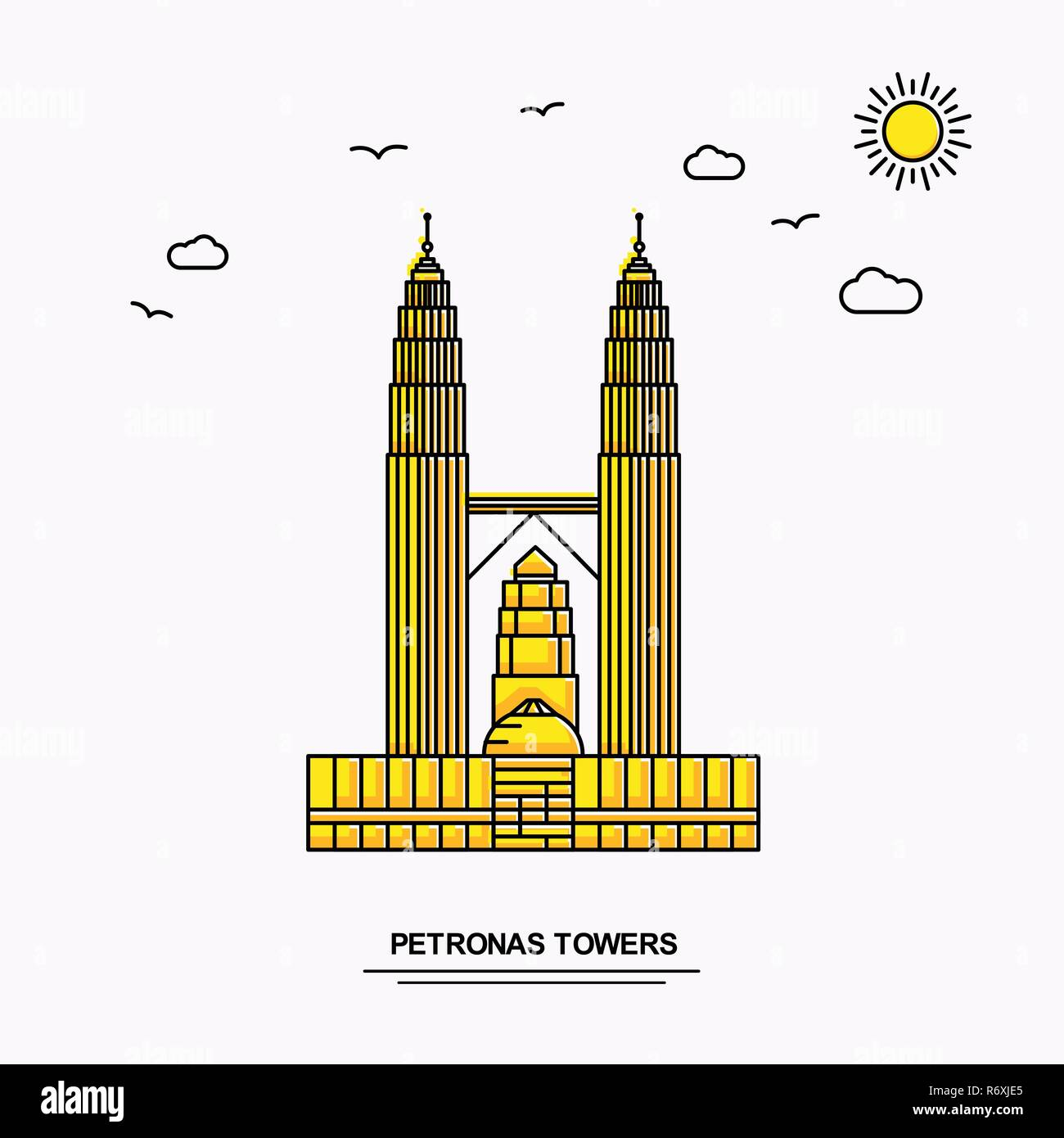 PETRONAS TOWERS Monument Poster Template. World Travel Yellow illustration Background in Line Style with beauture nature Scene - Stock Vector