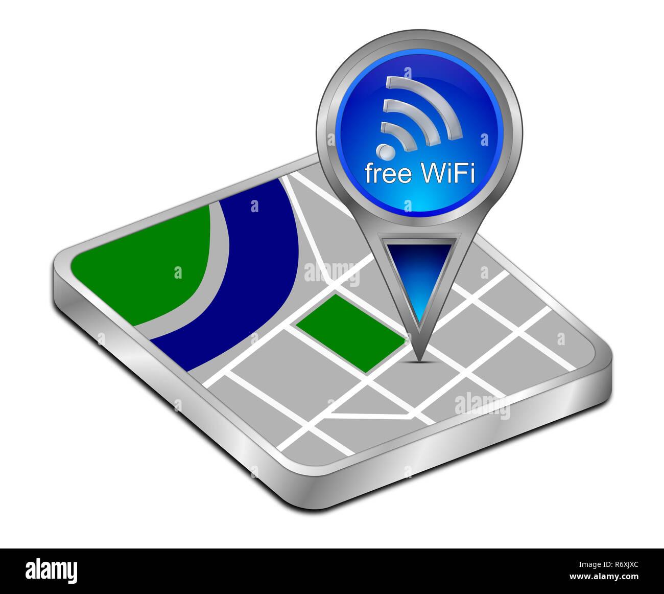 blue map pointer with free WiFi Symbol - 3D illustration ... Map Comp Symbol on mod symbols, power symbols, crane symbols, sport symbols, baltimore symbols, cd symbols, race symbols, state symbols, real symbols, cook symbols,