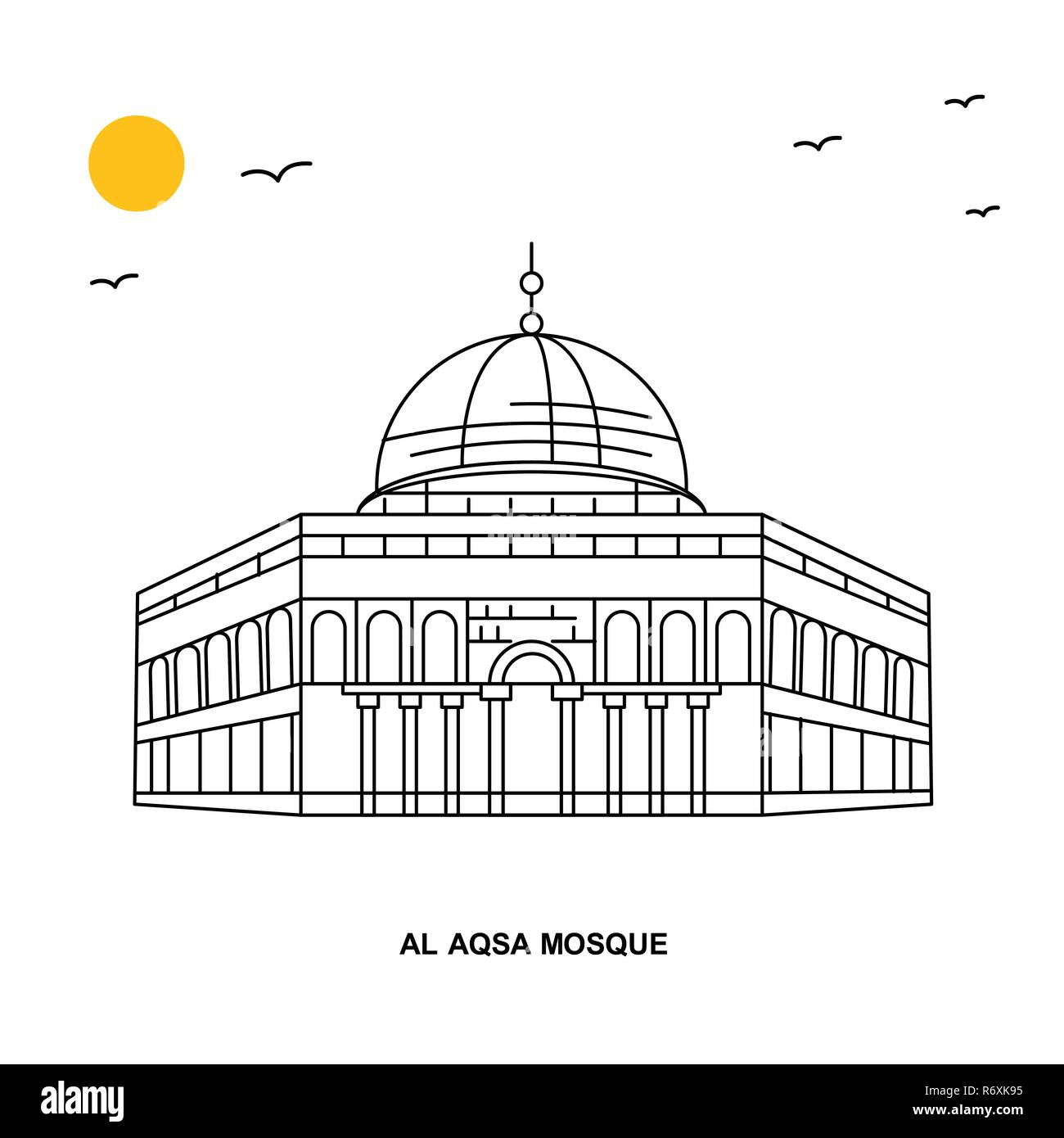 Al Aqsa Mosque Monument World Travel Natural Illustration Background In Line Style Stock Vector Image Art Alamy