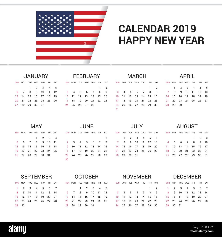 American 2019 Calendar Calendar 2019 United States of America Flag background. English