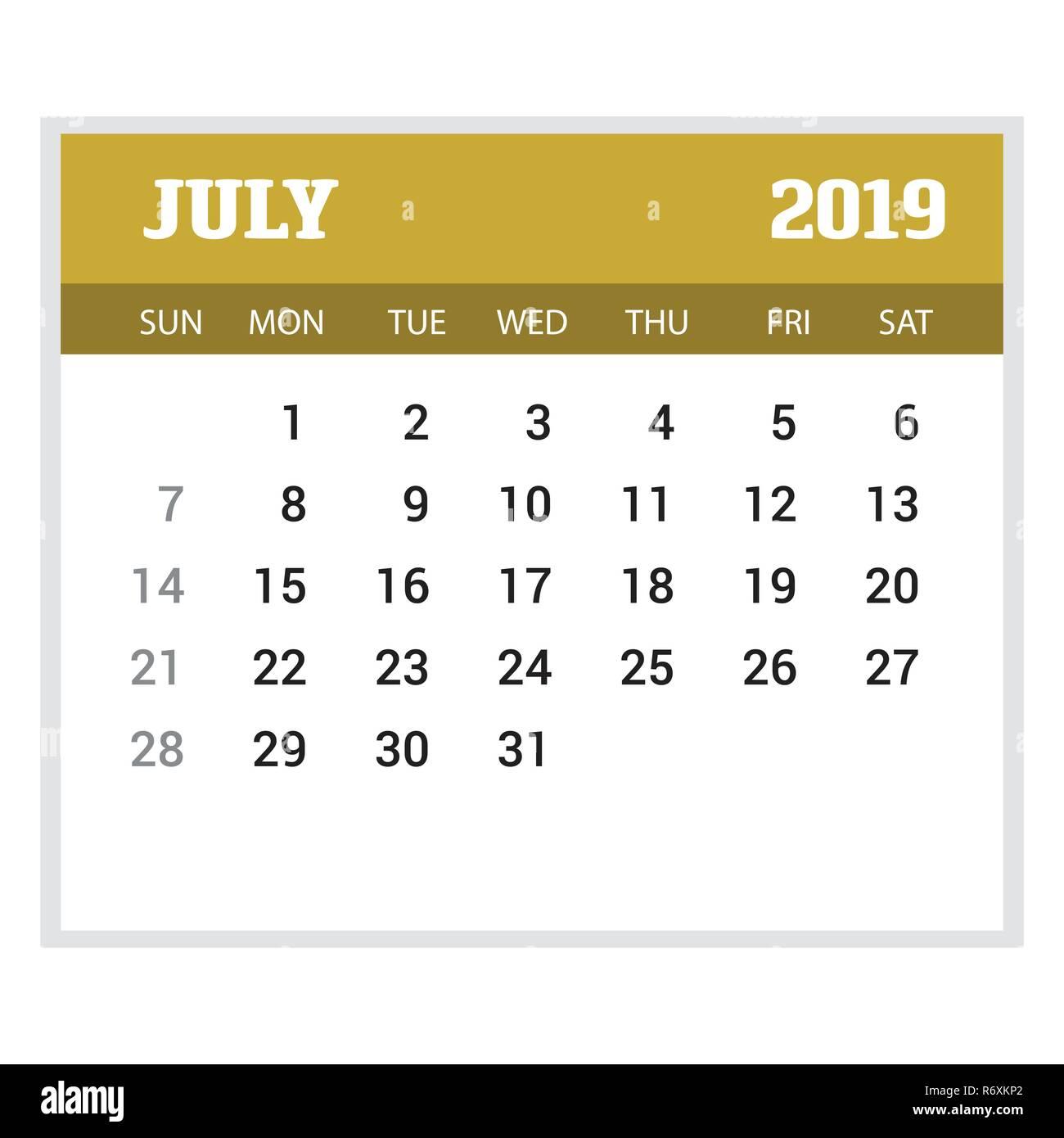 july calender 2019