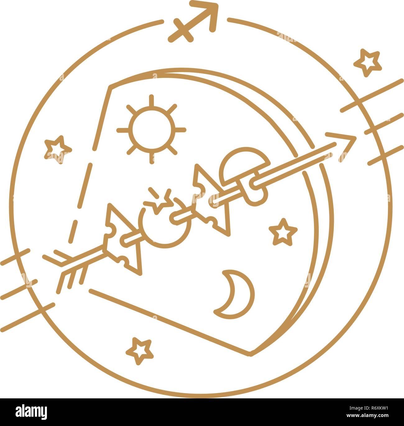 24a8eabb7e748 Vector bow and arrow or Sagittarius zodiac sign, logo, tattoo or  illustration. Food