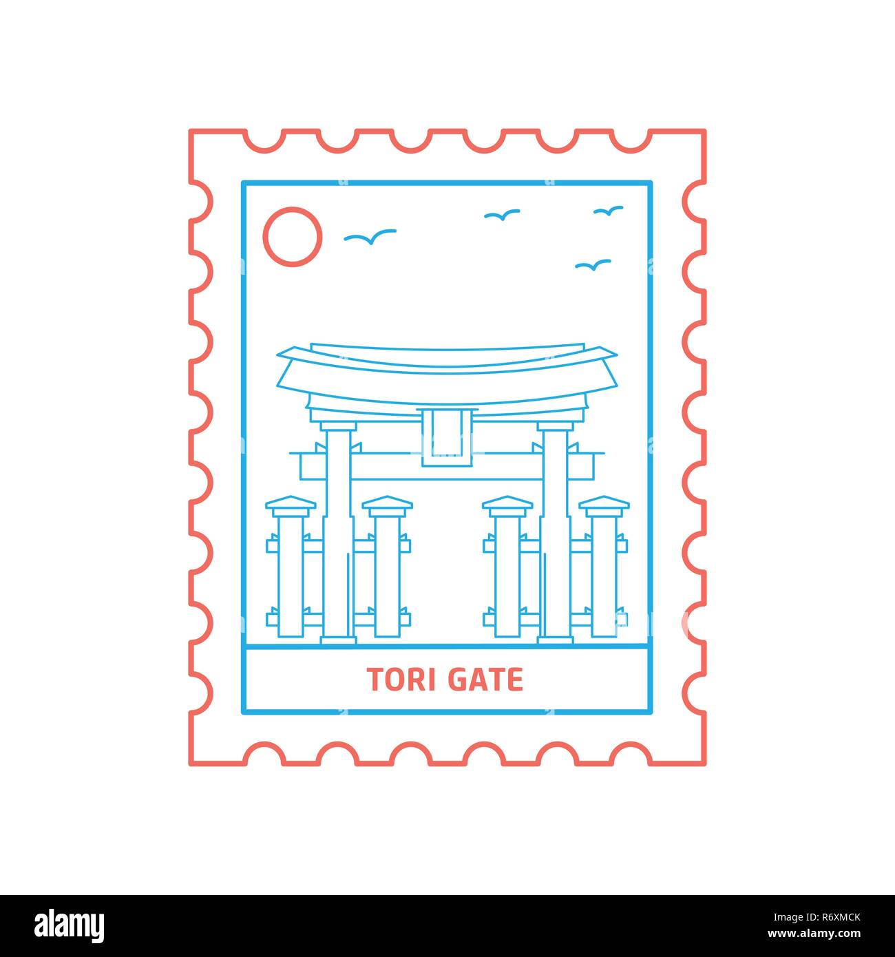TORI GATE postage stamp Blue and red Line Style, vector illustration Stock Vector