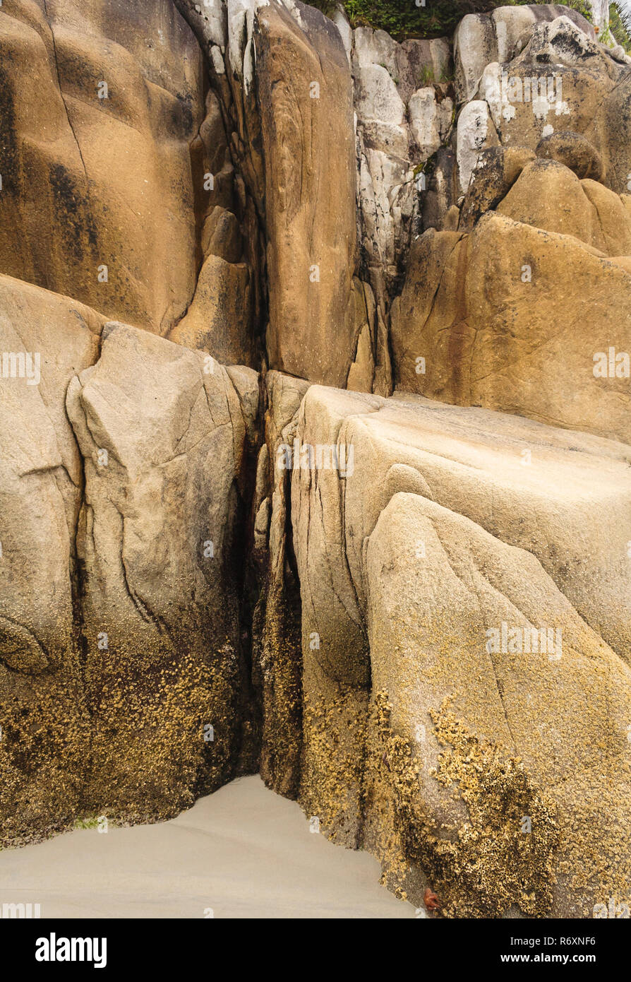 Abstract closeup of an eroded granite bluff at the edge of a sandy  beach, with contrasting hard, soft, smooth and rough textures (British Columbia). - Stock Image