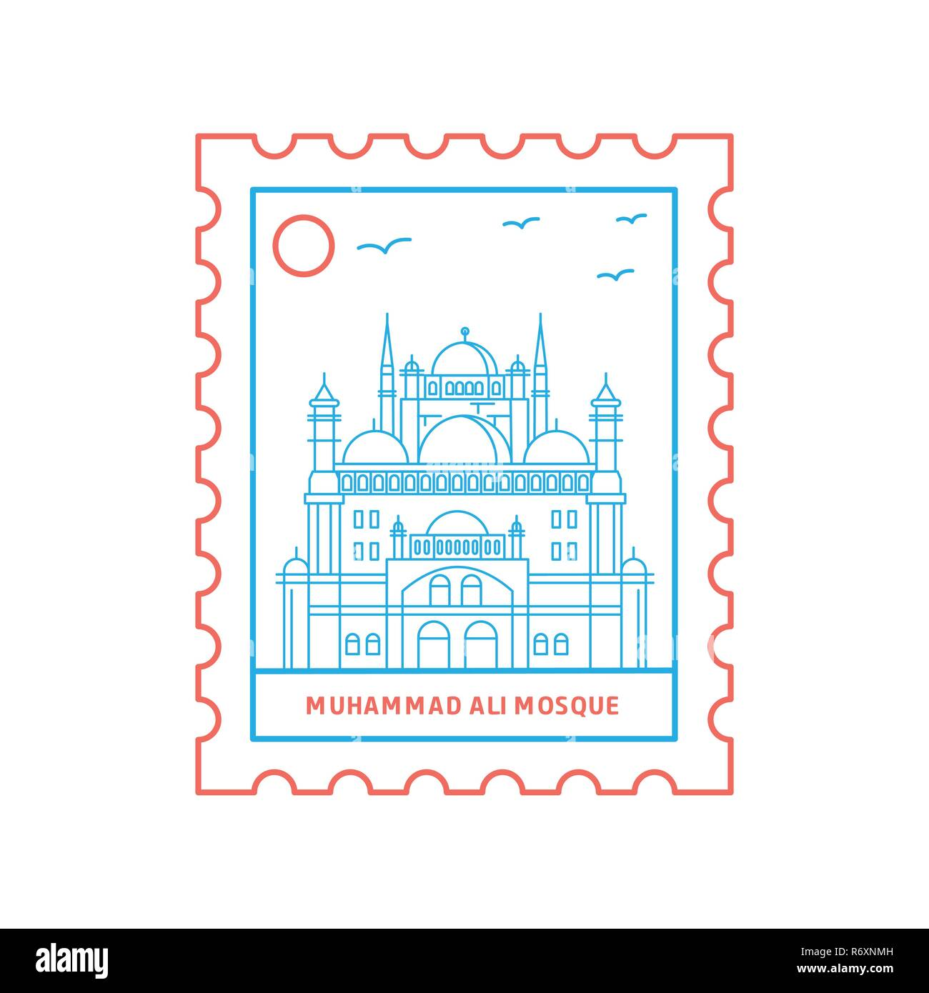 MUHAMMAD ALI MOSQUE postage stamp Blue and red Line Style, vector illustration - Stock Image