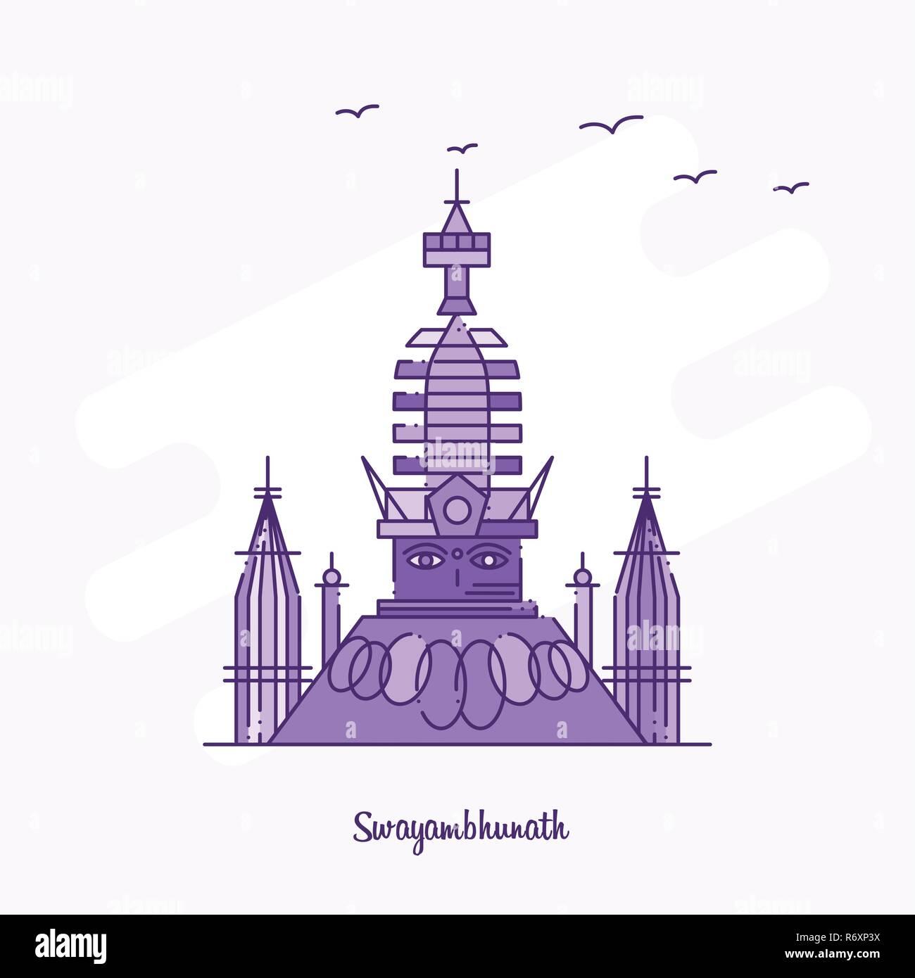 SWAYAMBHUNATH Landmark Purple Dotted Line skyline vector illustration - Stock Image