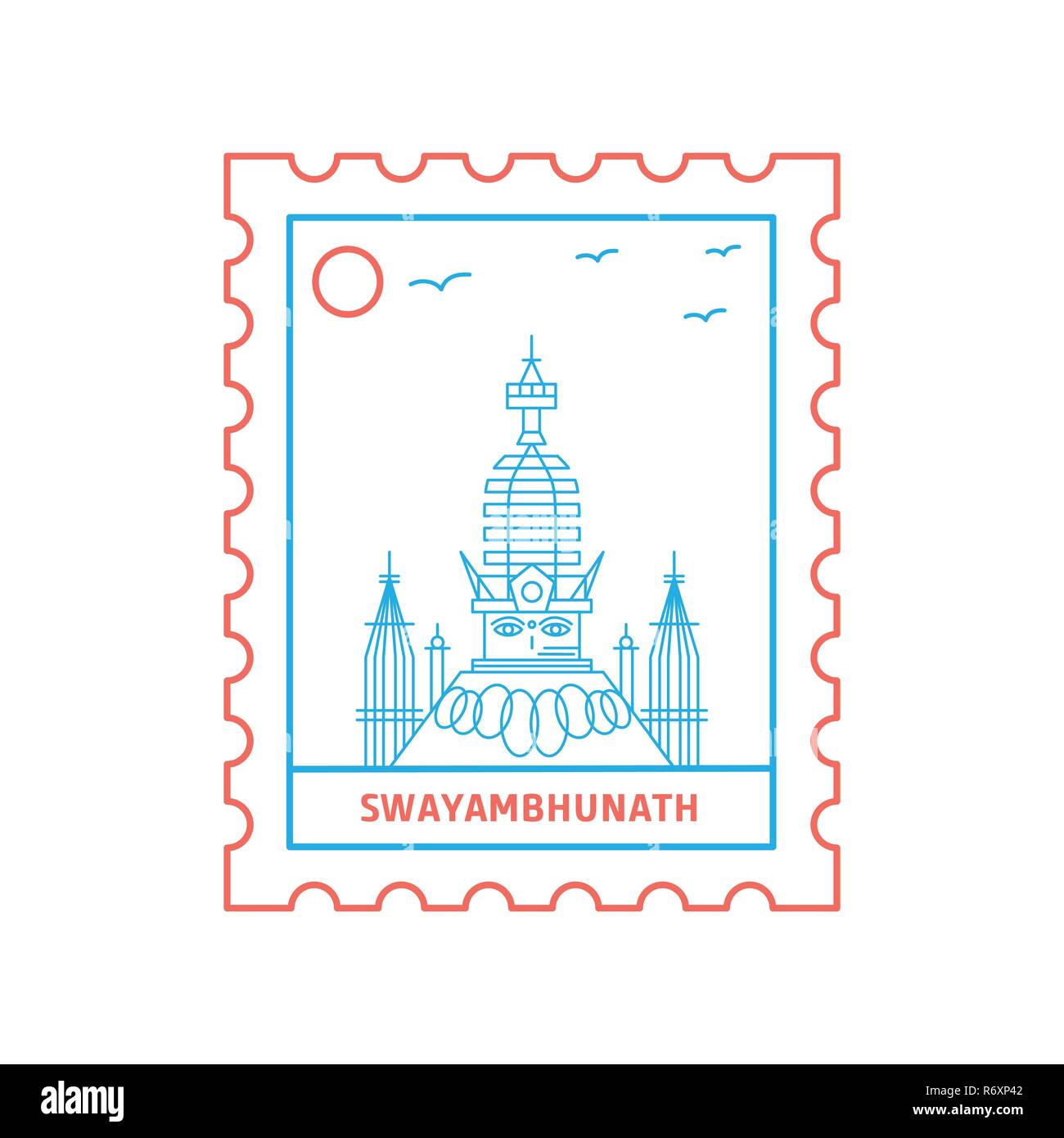 SWAYAMBHUNATH postage stamp Blue and red Line Style, vector illustration - Stock Image