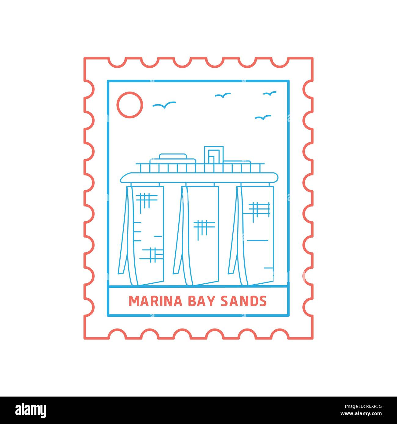 MARINA BAY SANDS postage stamp Blue and red Line Style, vector illustration - Stock Image