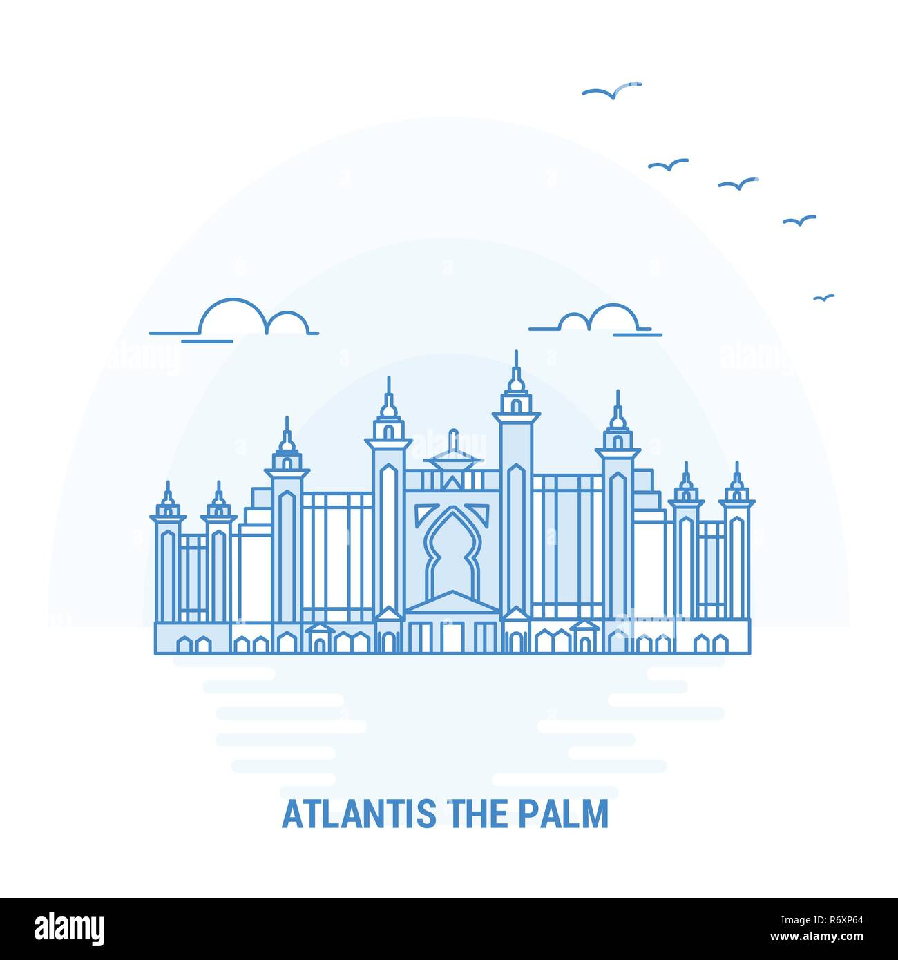 ATLANTIS THE PALM Blue Landmark. Creative background and Poster Template - Stock Image
