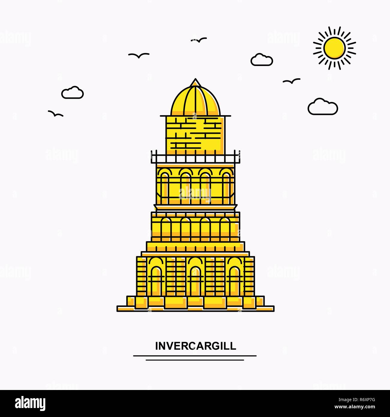 Invercargill Monument Poster Template World Travel Yellow Illustration Background In Line Style With Beauture Nature Scene Stock Vector Image Art Alamy