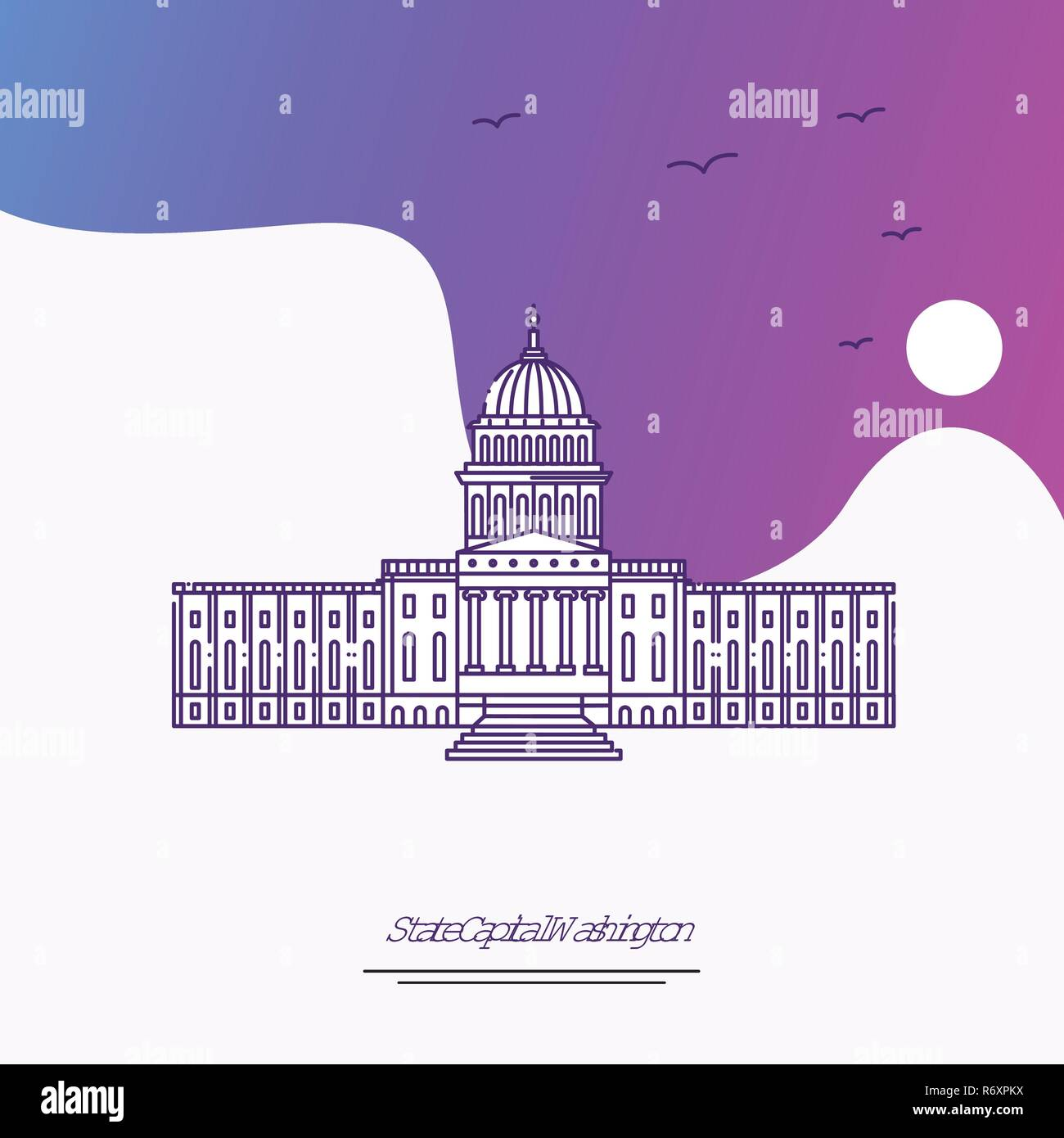Travel STATE CAPITAL WASHINGTON Poster Template. Purple creative background - Stock Vector