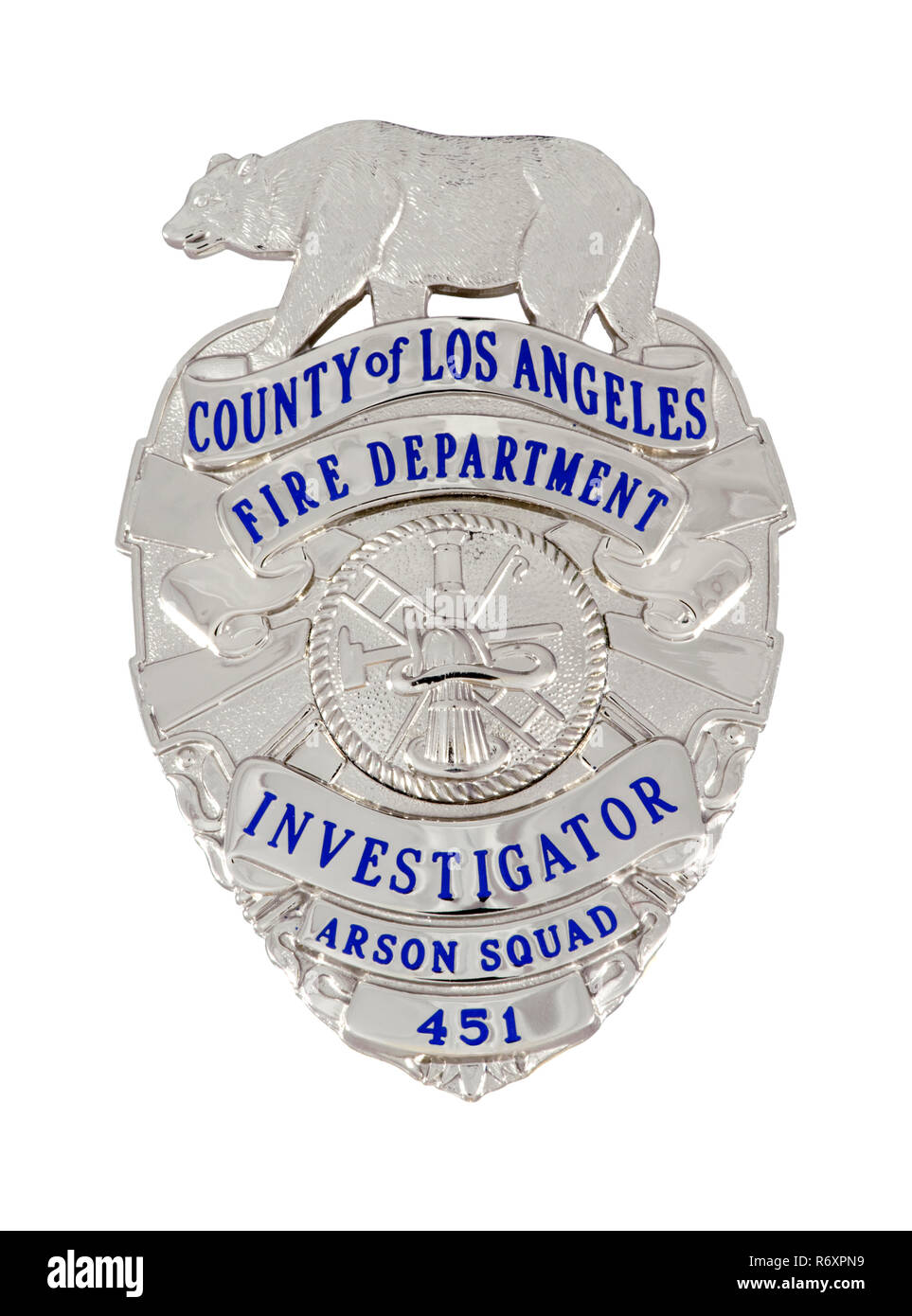 County of Los Angeles Fire Inspector's Badge Stock Photo