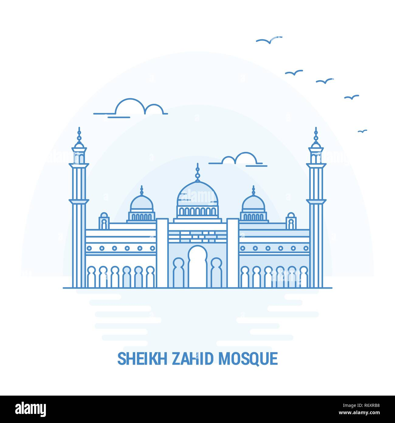 SHEIKH ZAHID MOSQUE Blue Landmark. Creative background and Poster Template - Stock Image