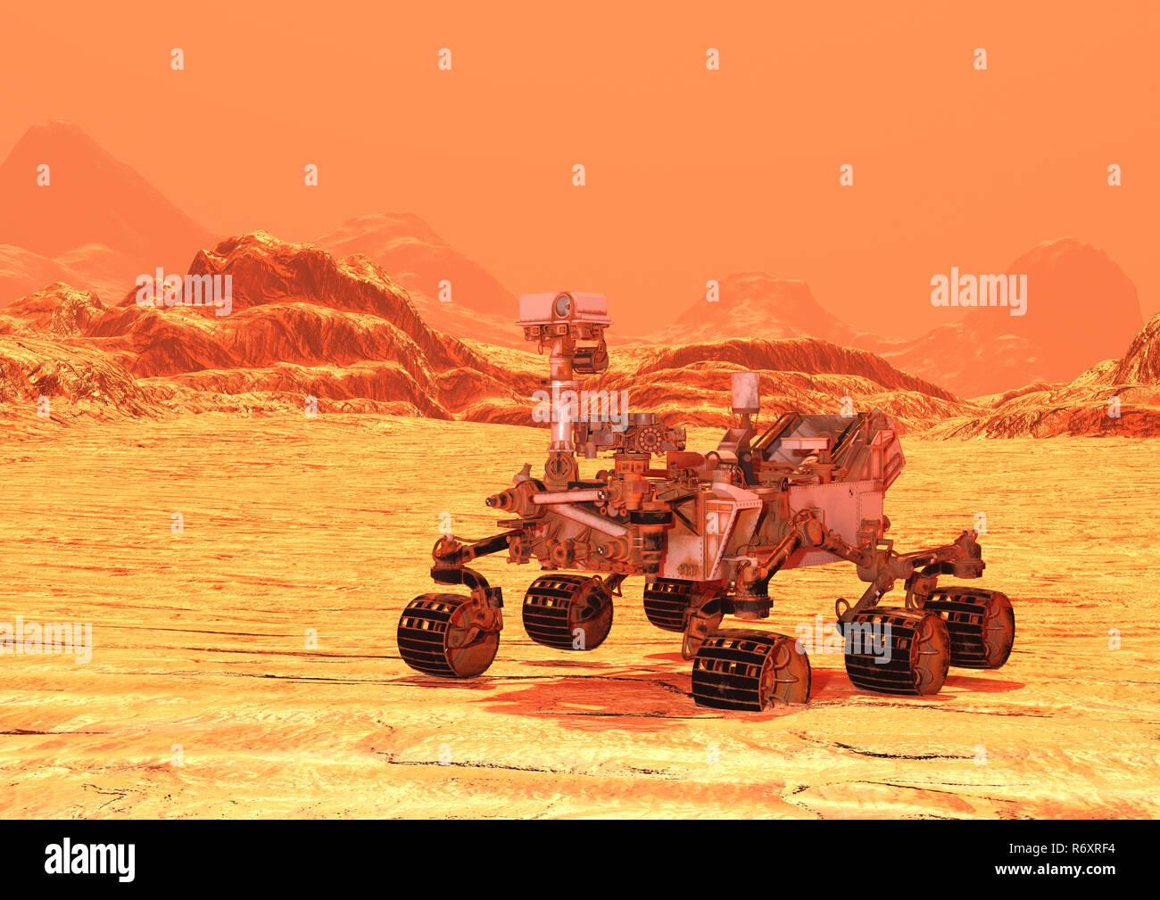 3D Rendering Mars Rover - Stock Image